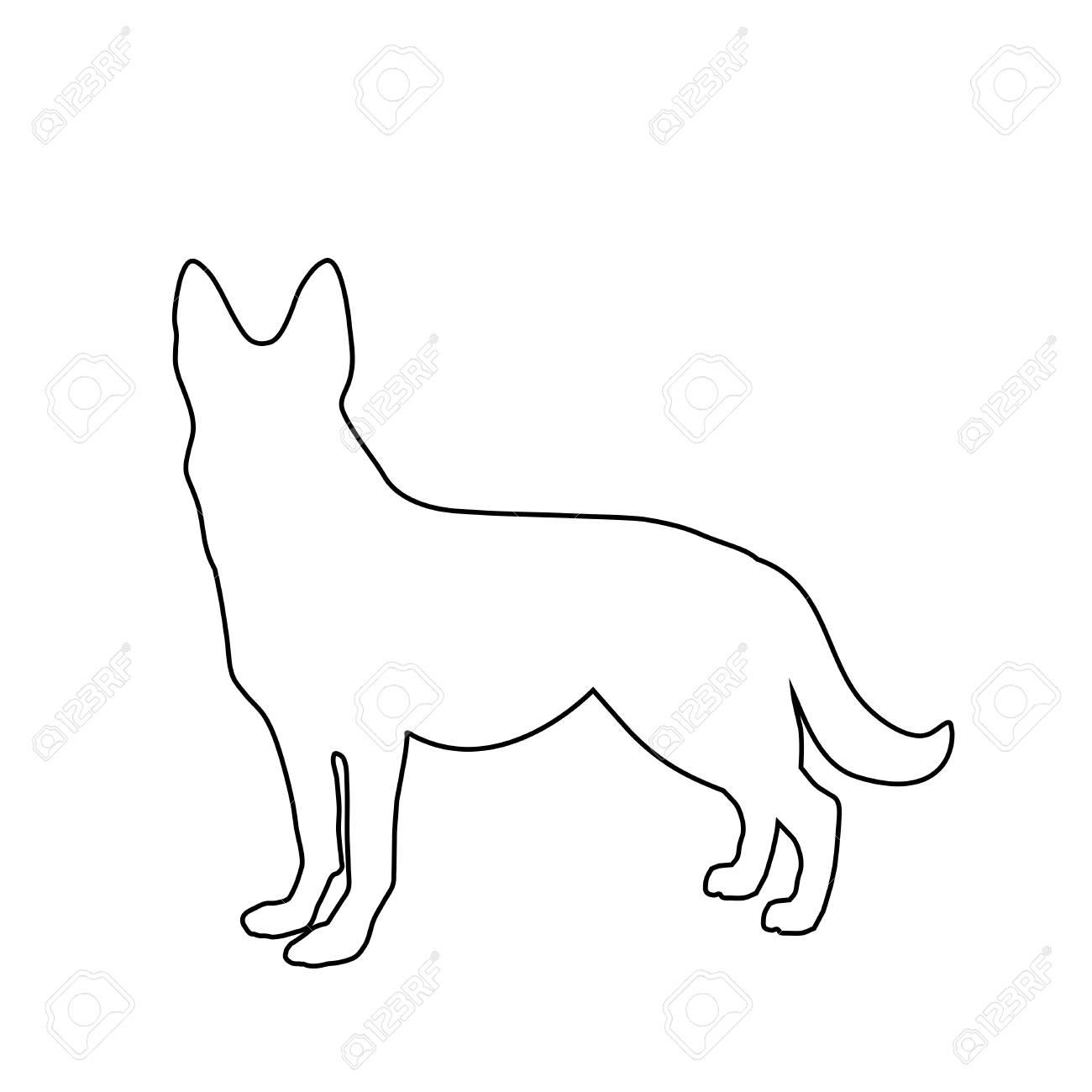 Black Outline Silhouette Of German Shepherd Dog Standig Sideway