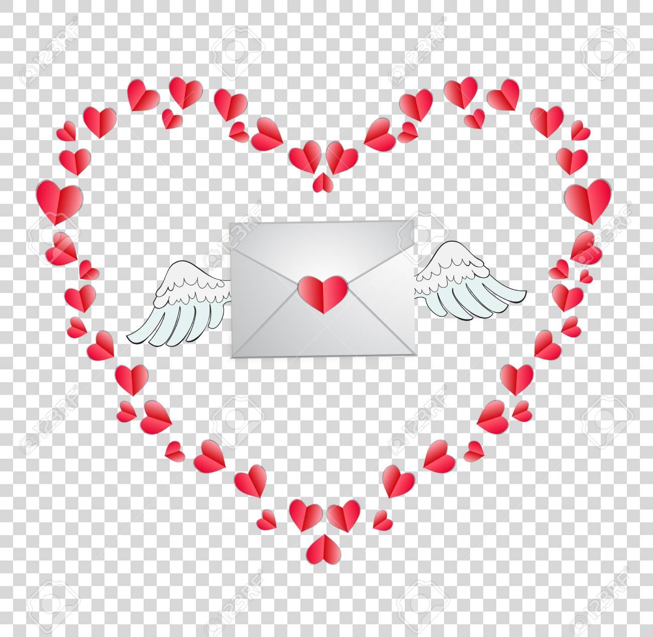 Vector La Ilustración Del Sobre Con El Sello Del Corazón Y Las Alas ...