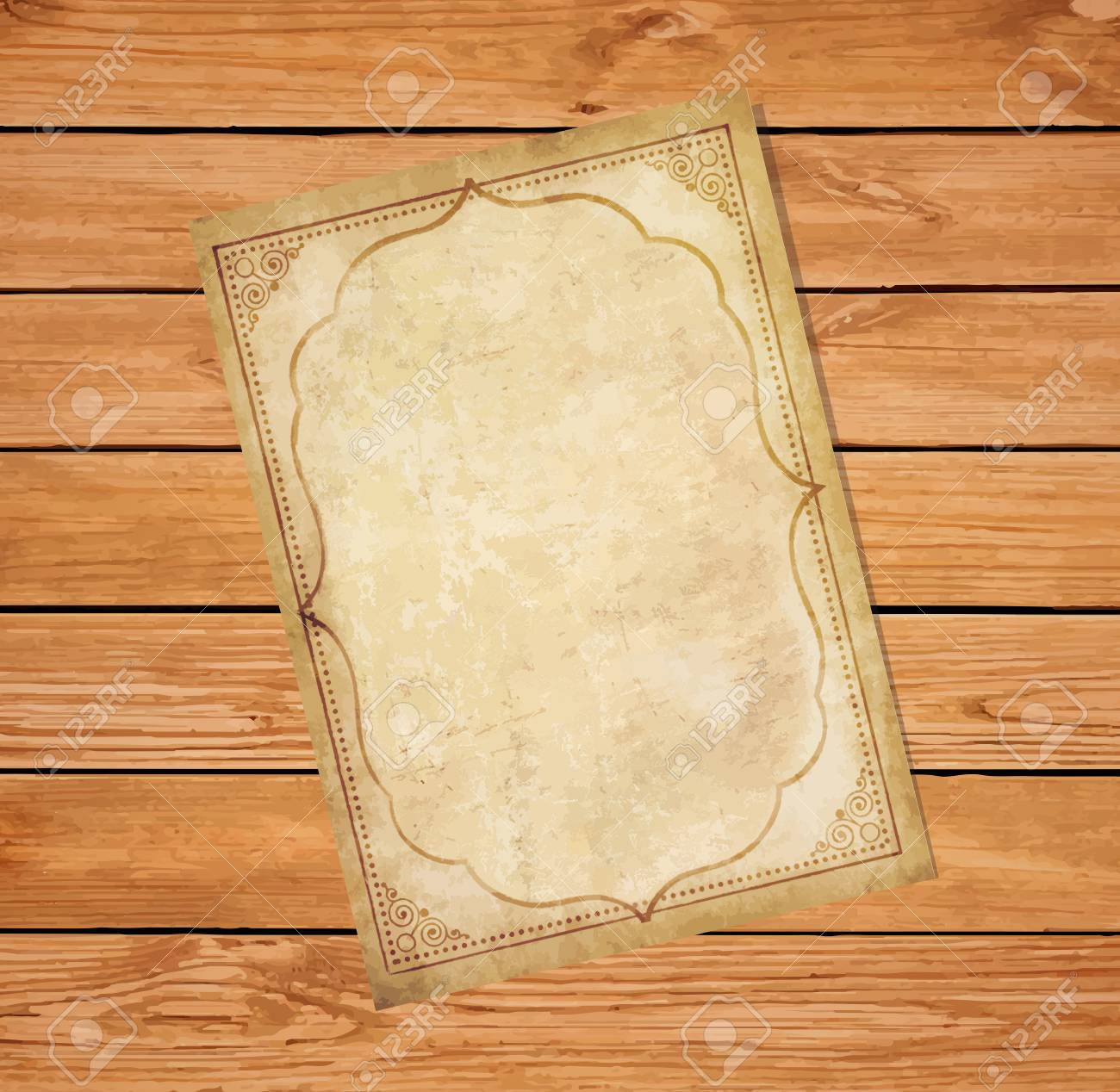 Old Grungy Papyrus With Curly Oriental Ornamental Frame On Rustic Wooden Background Worn Template For
