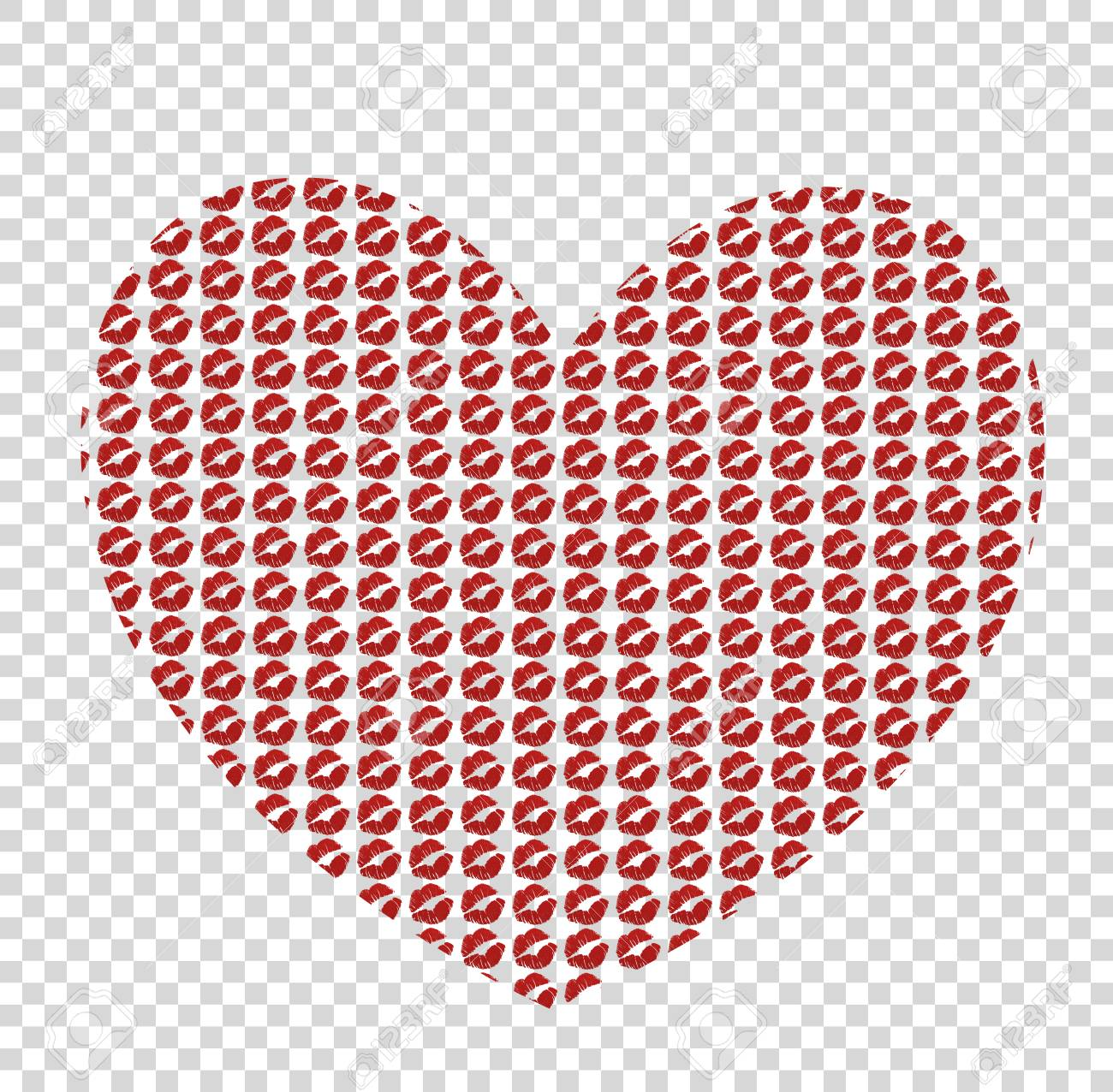 big red heart made of kissmarks isolated on transparent background