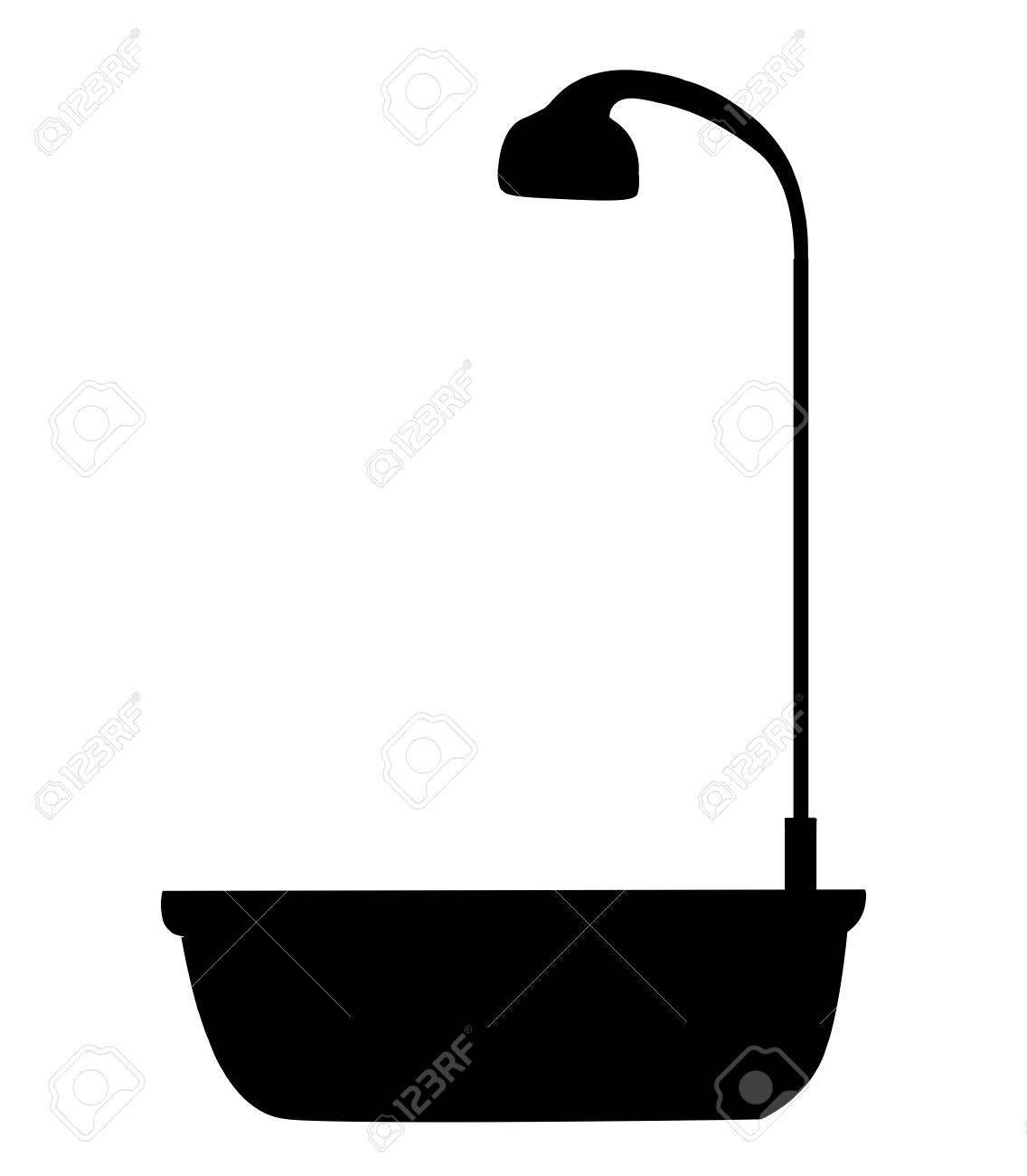 Black Silhouette Of Bathtub With Shower Head Icon Isolated On ... for shower head clipart black and white  66pct