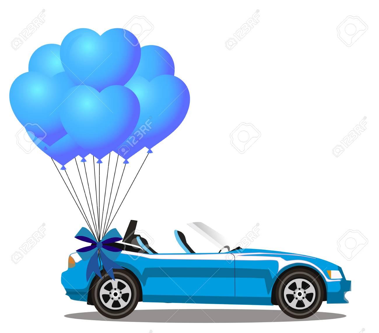 O Carro Aberto Moderno Azul Do Cabriolet Dos Desenhos Animados Com Grupo Do Coracao Azul Do Helio Deu Forma A Baloes Com A Fita Festiva Isolada No Fundo Branco Carro Esportivo Ilustracao