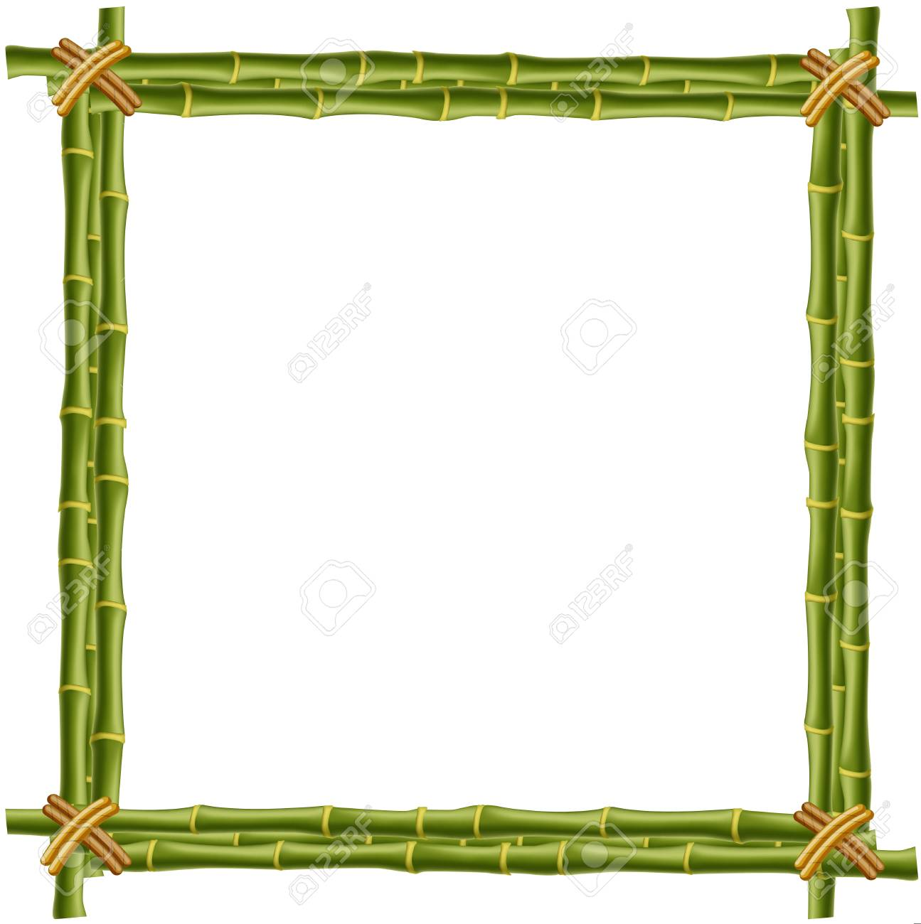 wooden frame made of green bamboo sticks with space for text rh 123rf com