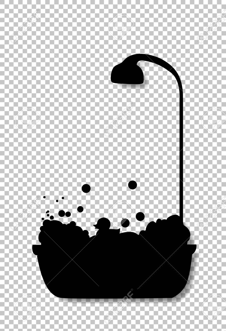Black Silhouette Of Bathtub With Shower Head Full Of Bubble Foam ... for shower head clipart black and white  588gtk