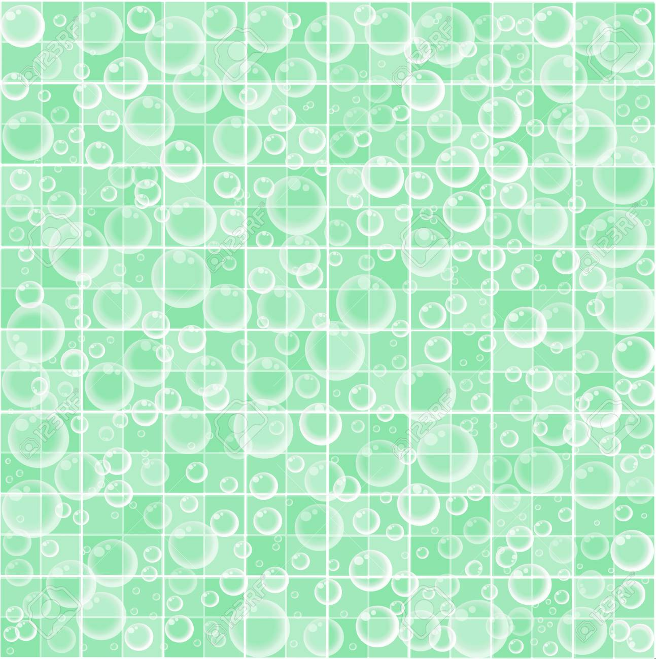 Cute Baby Cartoon Wallpaper With Floating Bubbles On Light Green