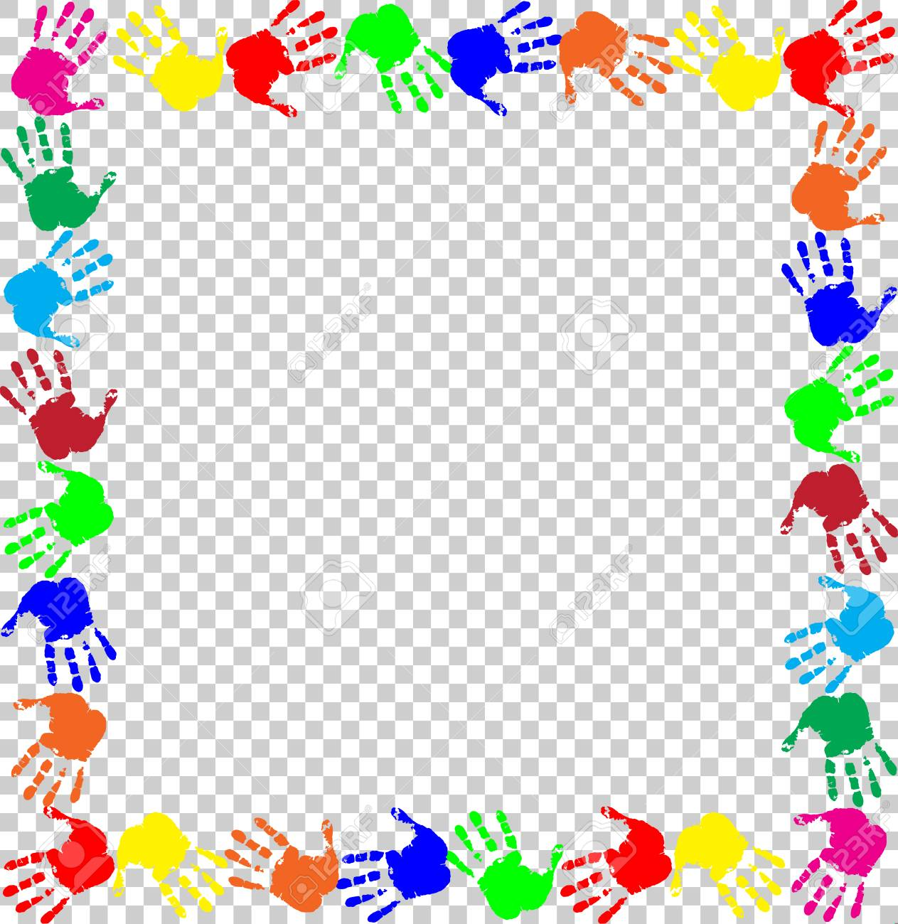 Bright rainbow frame with empty copy space for text or image and multicolored handprints border isolated on transparent background. Vector festive template, photo frame, mockup for invitation design. - 95183932
