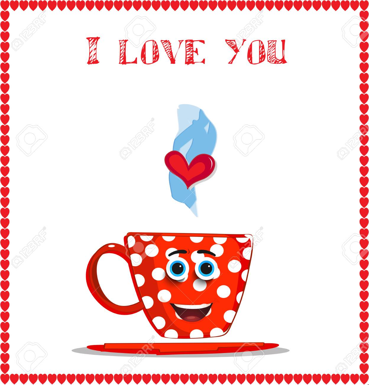 I Love You Card With Cute Smiling Red Mug With White Polka Dots ...