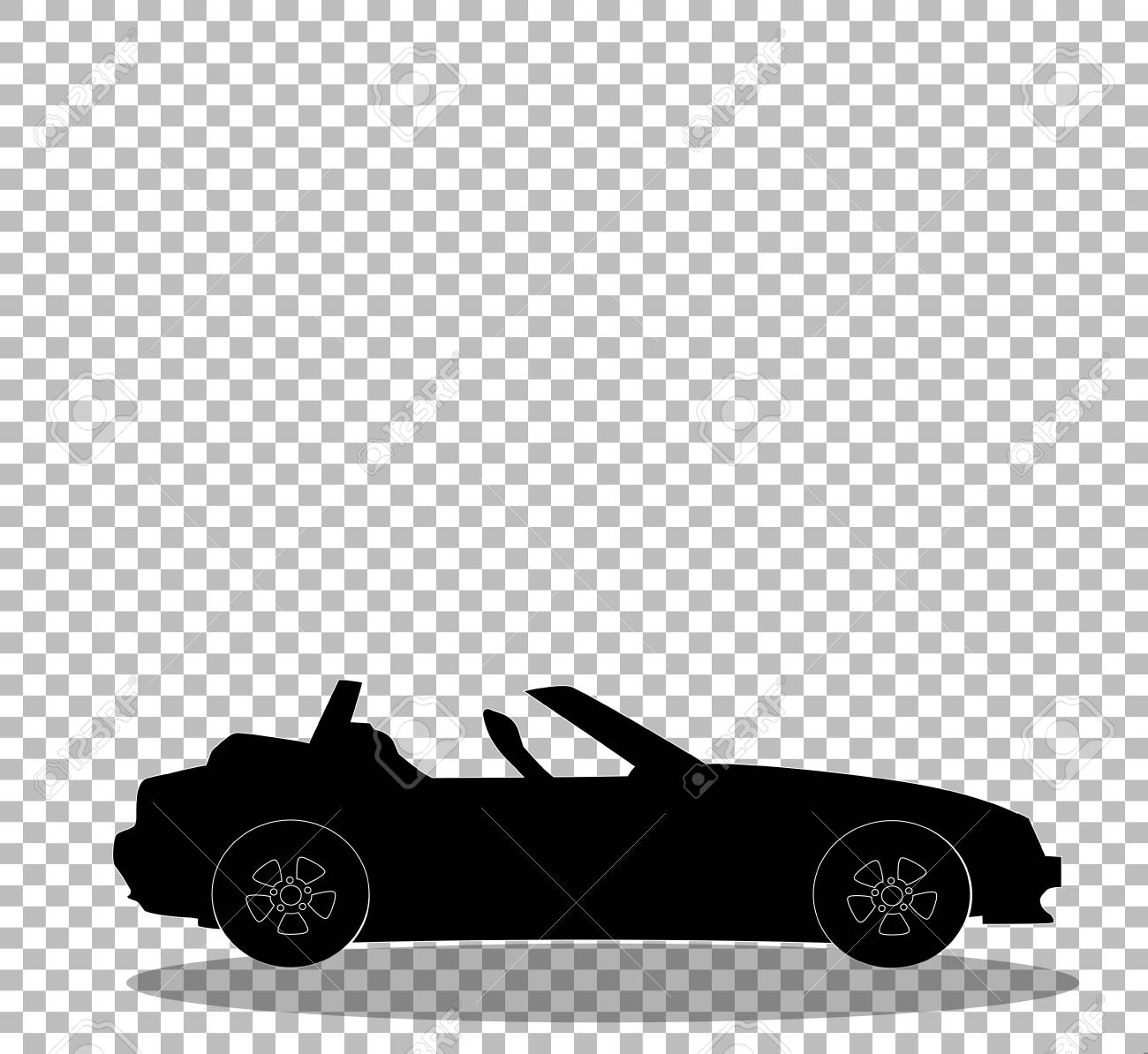 Black Silhouette Of Modern Opened Cartoon Cabriolet Car Isolated Royalty Free Cliparts Vectors And Stock Illustration Image 95183855