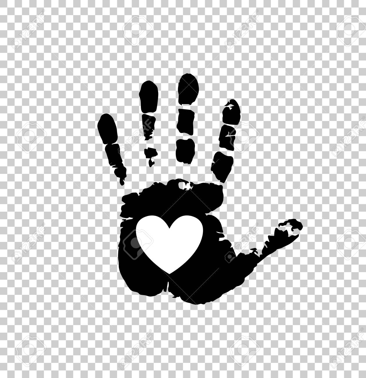 Black Silhouette Of Human Hand Print With Heart Sign In Open