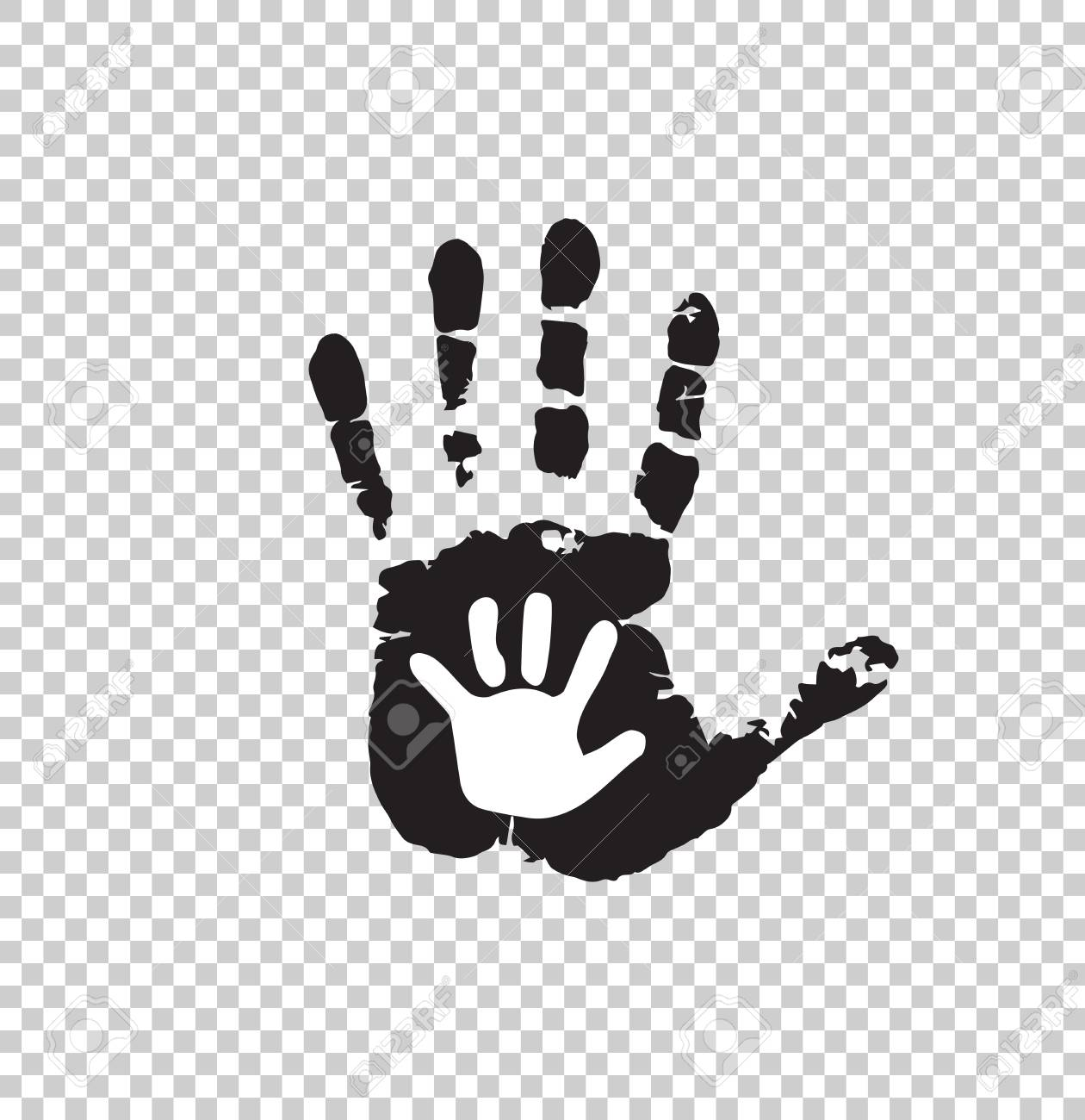 Black And White Silhouette Of Adult And Baby Hand Isolated On Royalty Free Cliparts Vectors And Stock Illustration Image 95631575