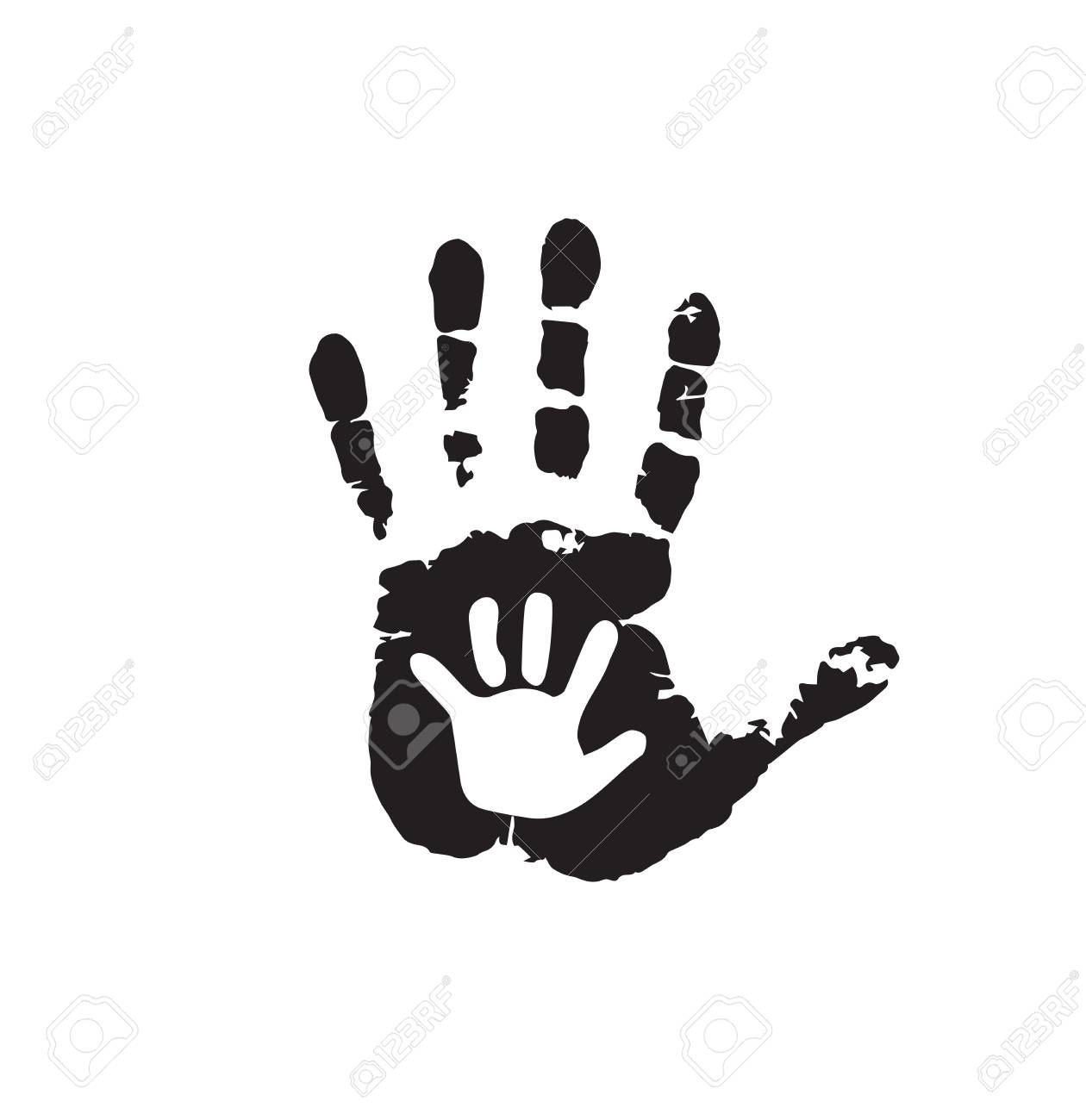 Black And White Silhouette Of Adult And Baby Hands On White