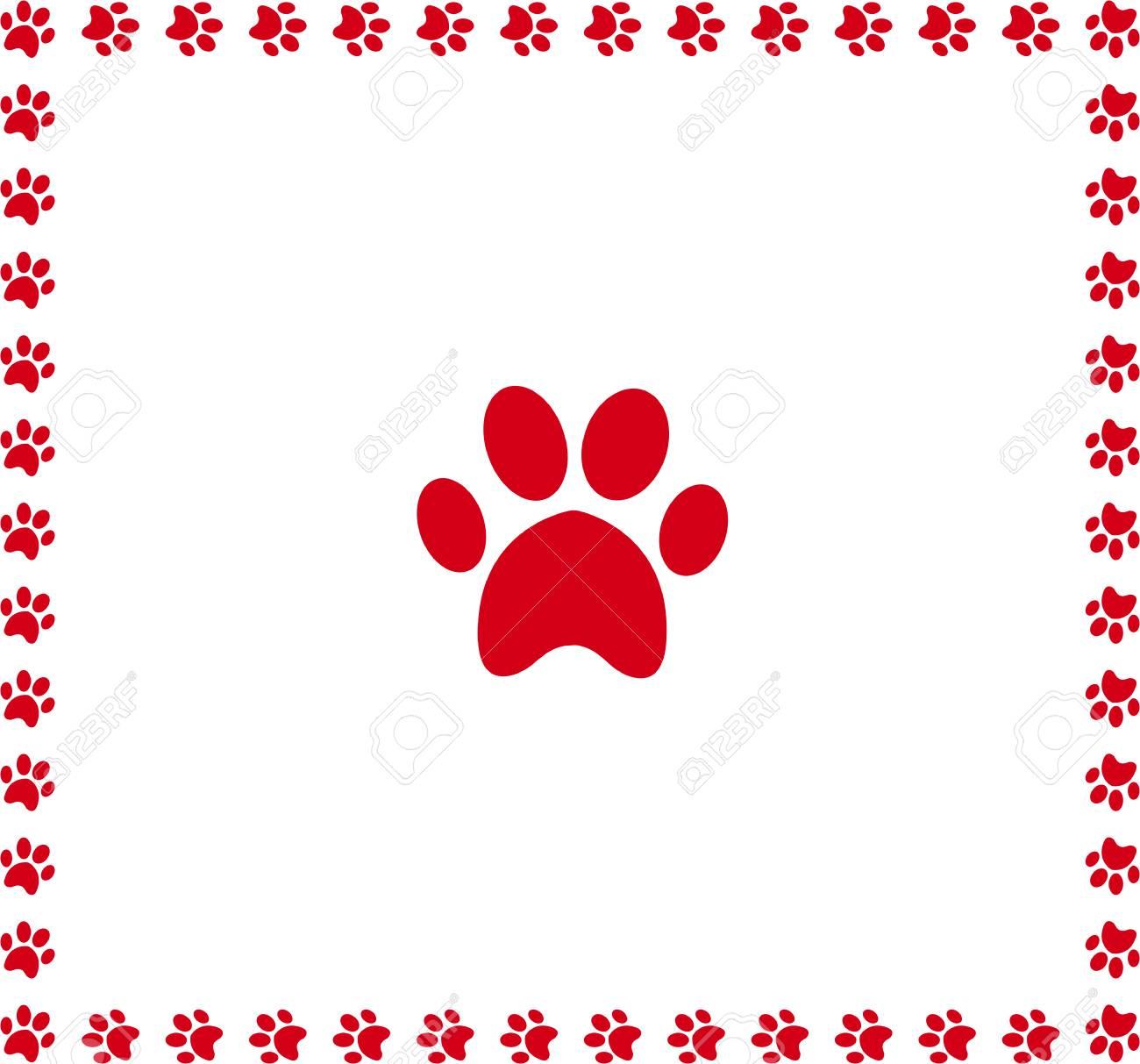 red animal pawprint icon framed with paw prints square border rh 123rf com Tiger Paw Print Clip Art Dog Paw Border Clip Art