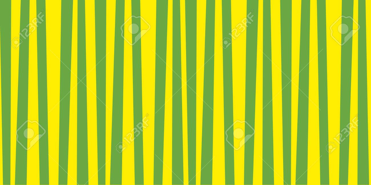 Abstract Vertical Striped Pattern Green And Yellow Print