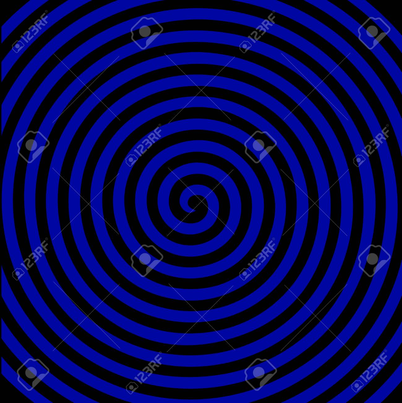 Black And Blue Round Abstract Vortex Hypnotic Spiral Wallpaper