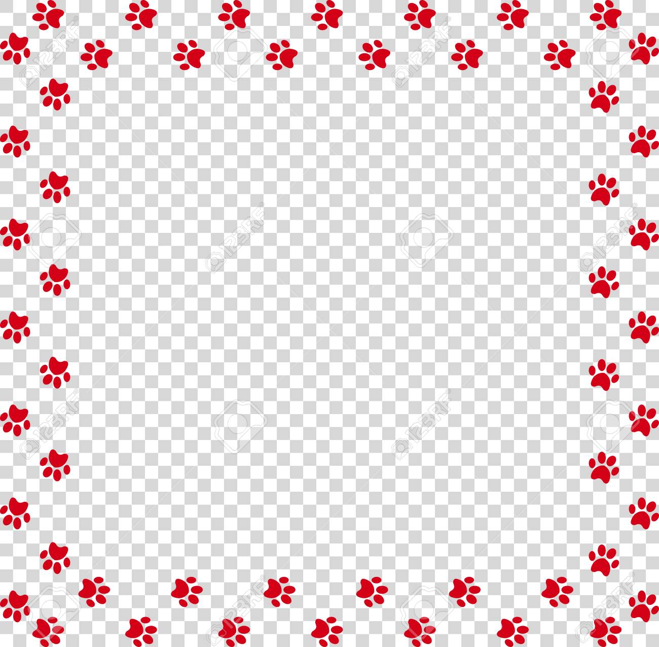 square frame made of red animal paw prints on transparent background