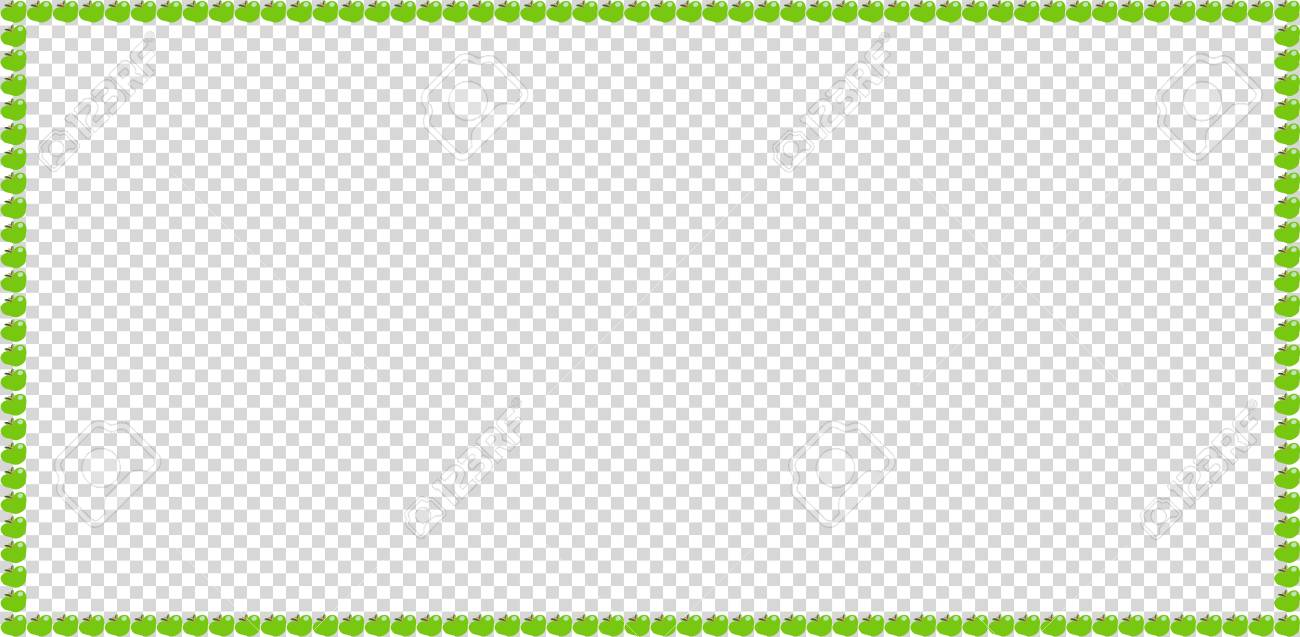 Green Apple Rectangle Frame Border Isolated On Transparent ...