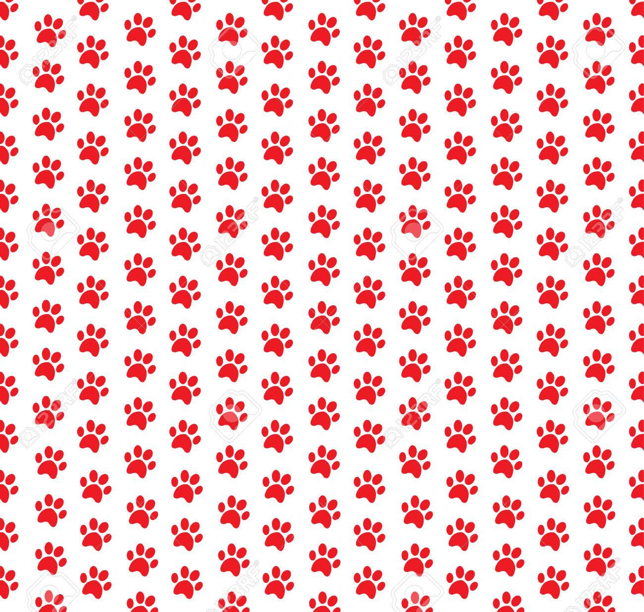 Square Seamless Pattern Of Red Animal Paw Prints On White Background ...