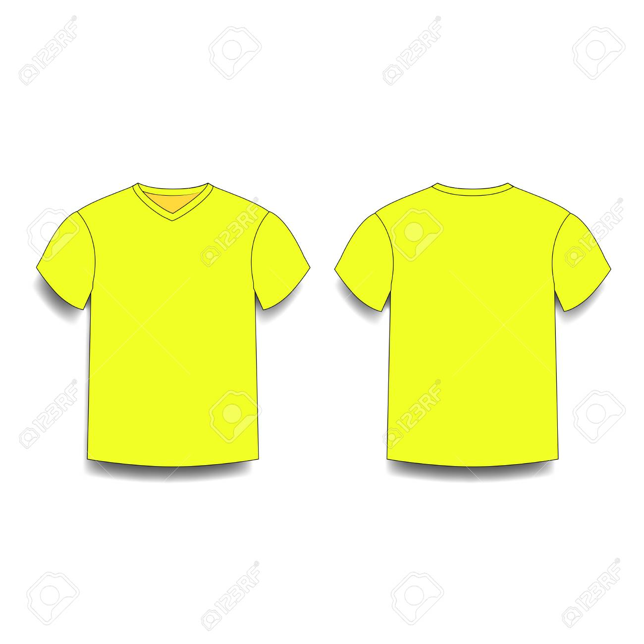 13be065fc15bdc Vector - Yellow men s t-shirt template v-neck front and back side views  vector of male t-shirt wearing illustration isolated on white background.