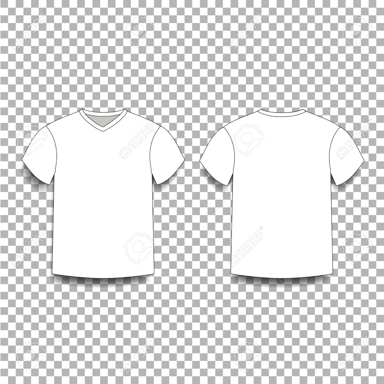 White Mens T Shirt Template V Neck Front And Back Side Views