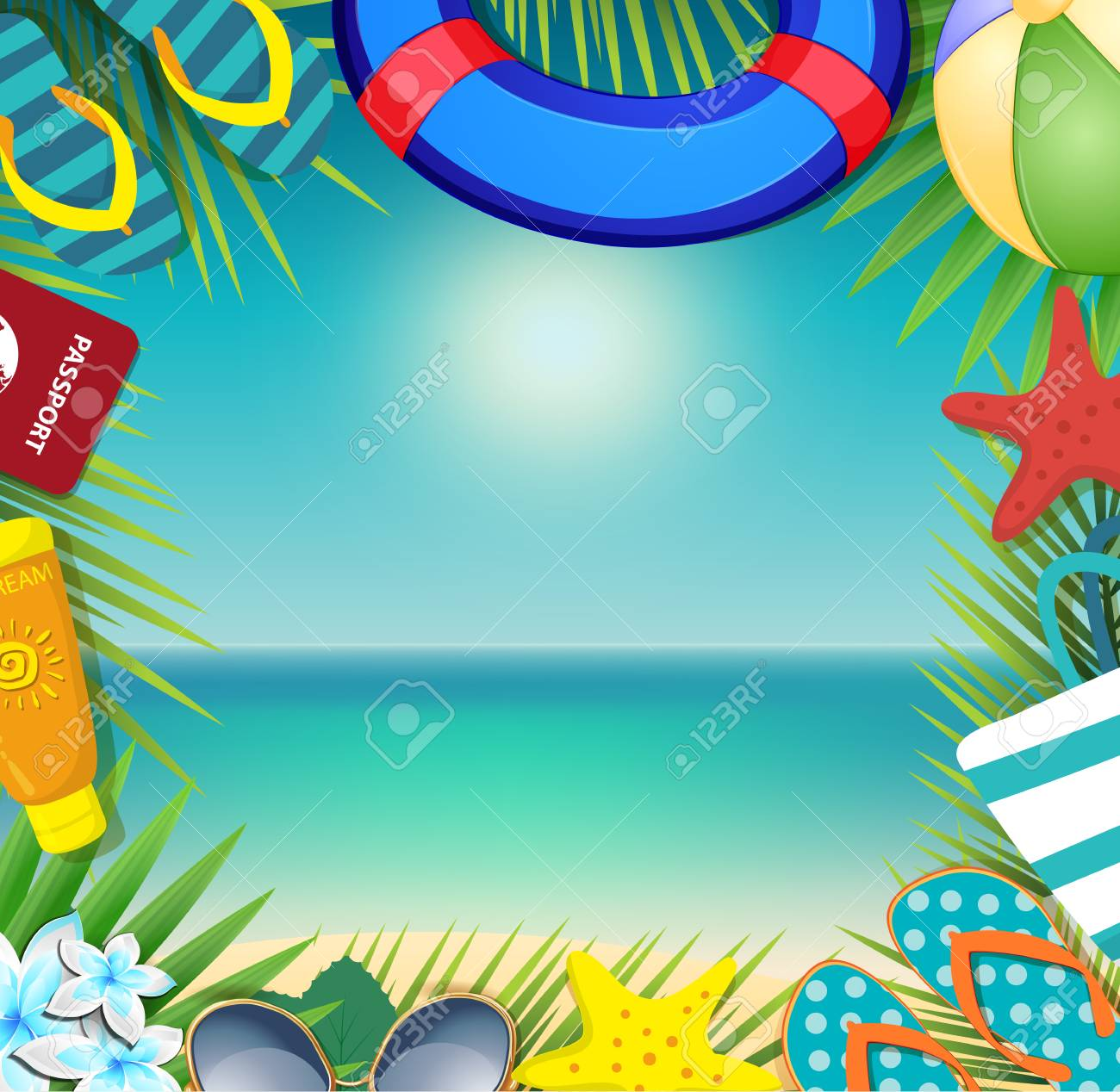 ce5c4f5308b Top view of summer holidays border frame template with copy space. Vacation  tropical beach accessories