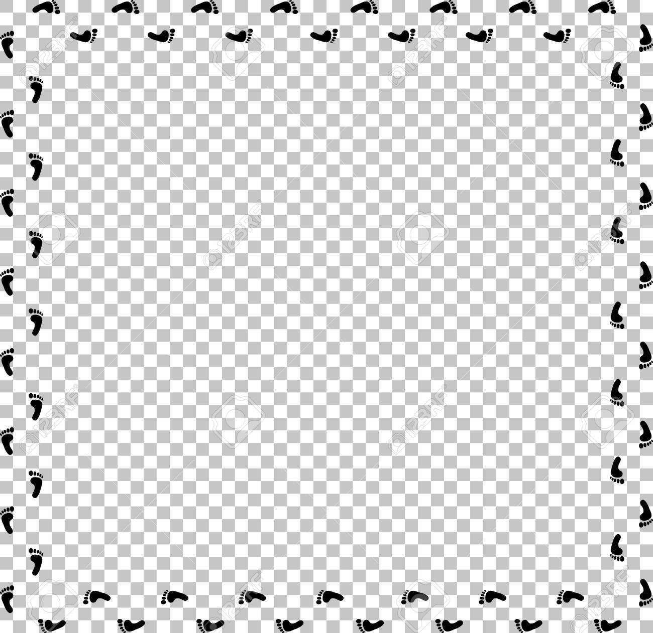 Square Border Or P O Frame With Prints Barefooted Human Foot Ande For Text Or Image