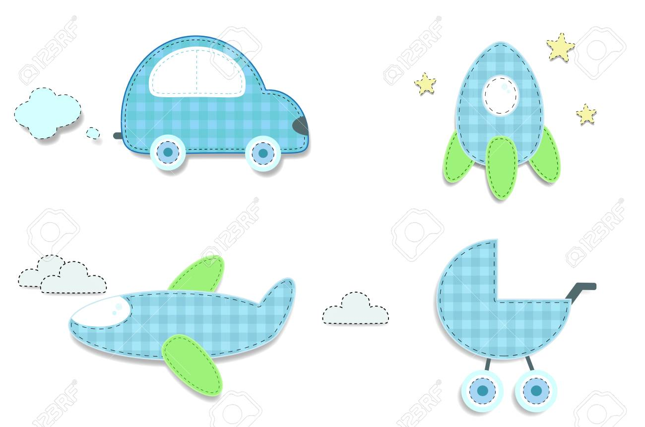 Vector Set Of Cute Baby Boy Elements For Scrapbooking Or Baby
