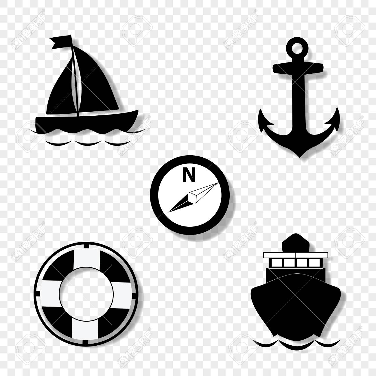 Vector black and white silhouette illustration of summer travel sea icon set isolated on transparent background. sailing ship, anchor, compass, lifebuoy, yacht. Cruise icons set for graphic web design - 104841696