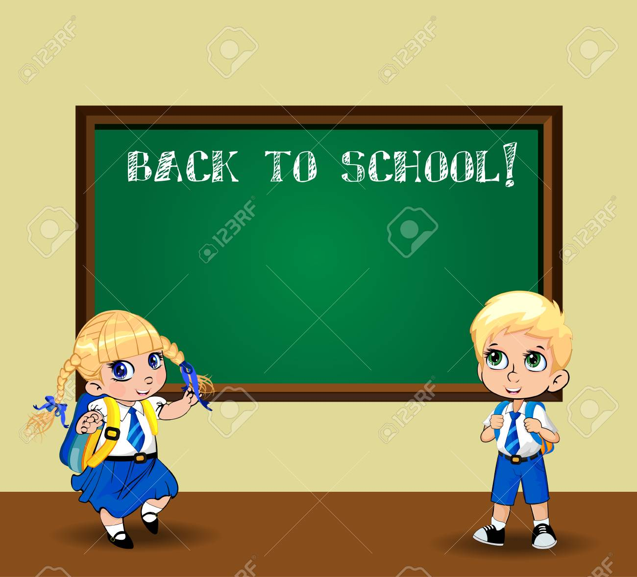 Cute cartoon schoolgirl and schoolboy in uniform with backpacks near chalkboard. Vector illustration, flyer, poster, template, back to school, teacher s day characters concept. Kawaii pupil kids - 112032441