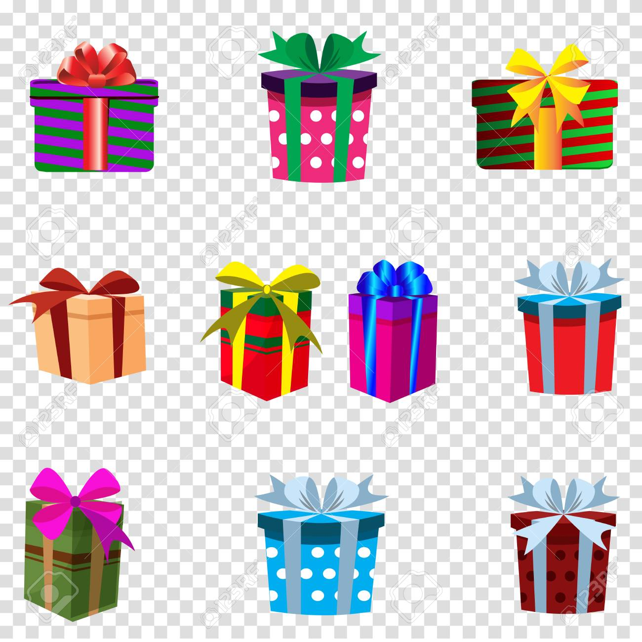 Vector Set Of Colourful Gift Boxes Isolated On Transparent Background Christmas New Year Valentine Birthday Festive Icons Clip Art Presents Decorated By Ribbons And Bows Greeting Card Template Royalty Free Cliparts Vectors