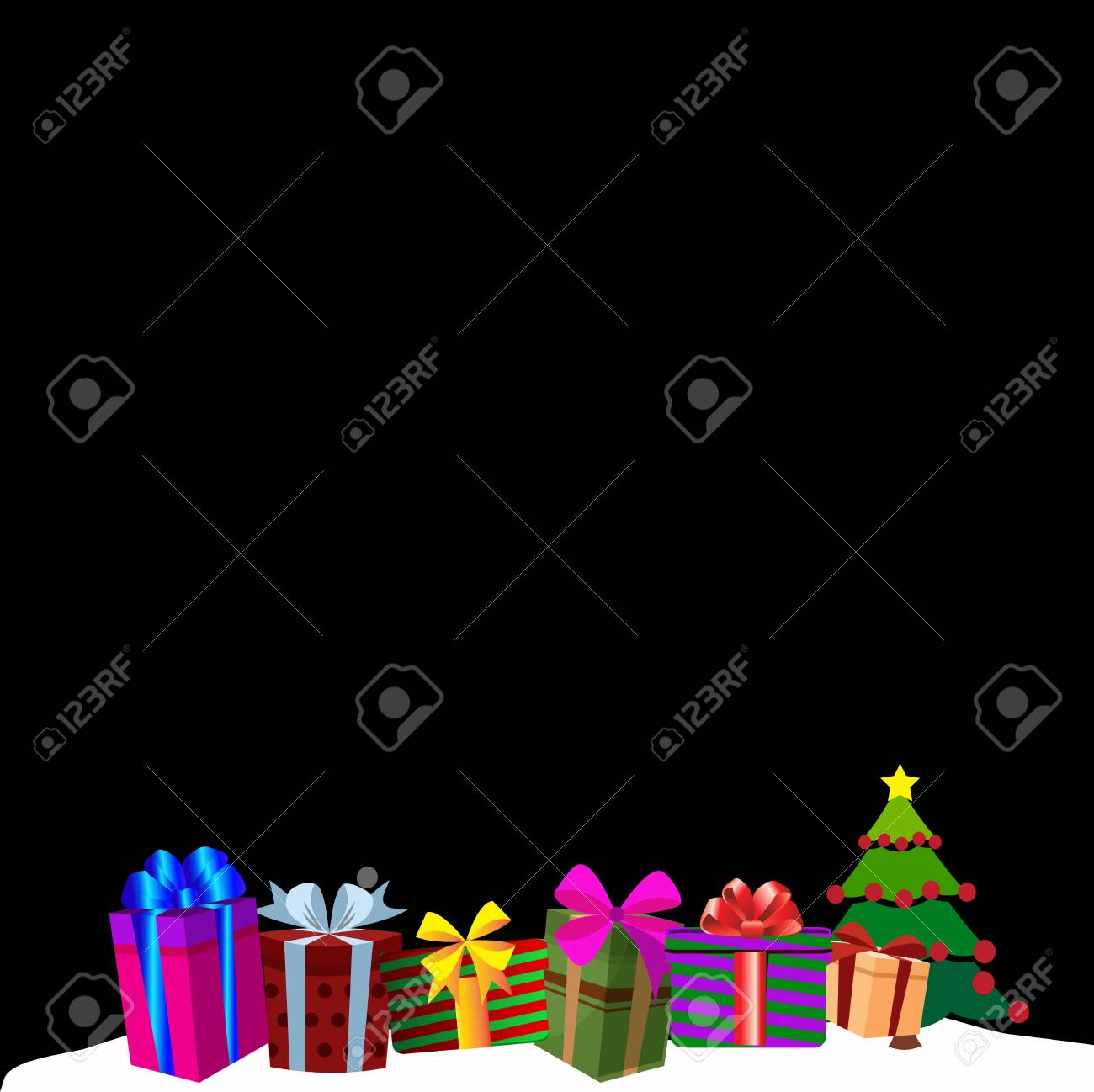 greeting template clip art colourful gift boxes on white snow drift christmas or new year border frame background
