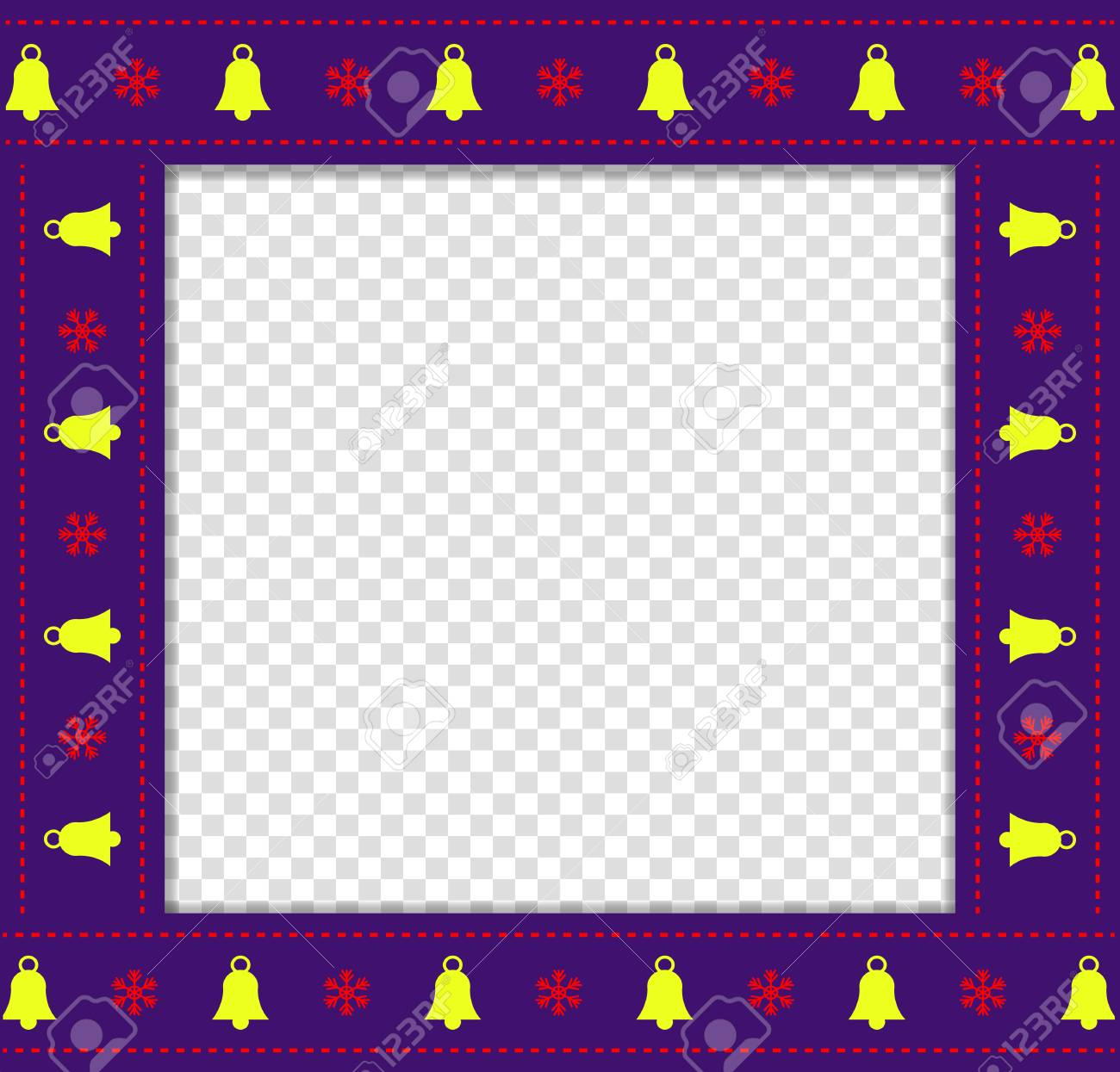 cute christmas or new year square border photo frame with bells and snowflakes pattern isolated