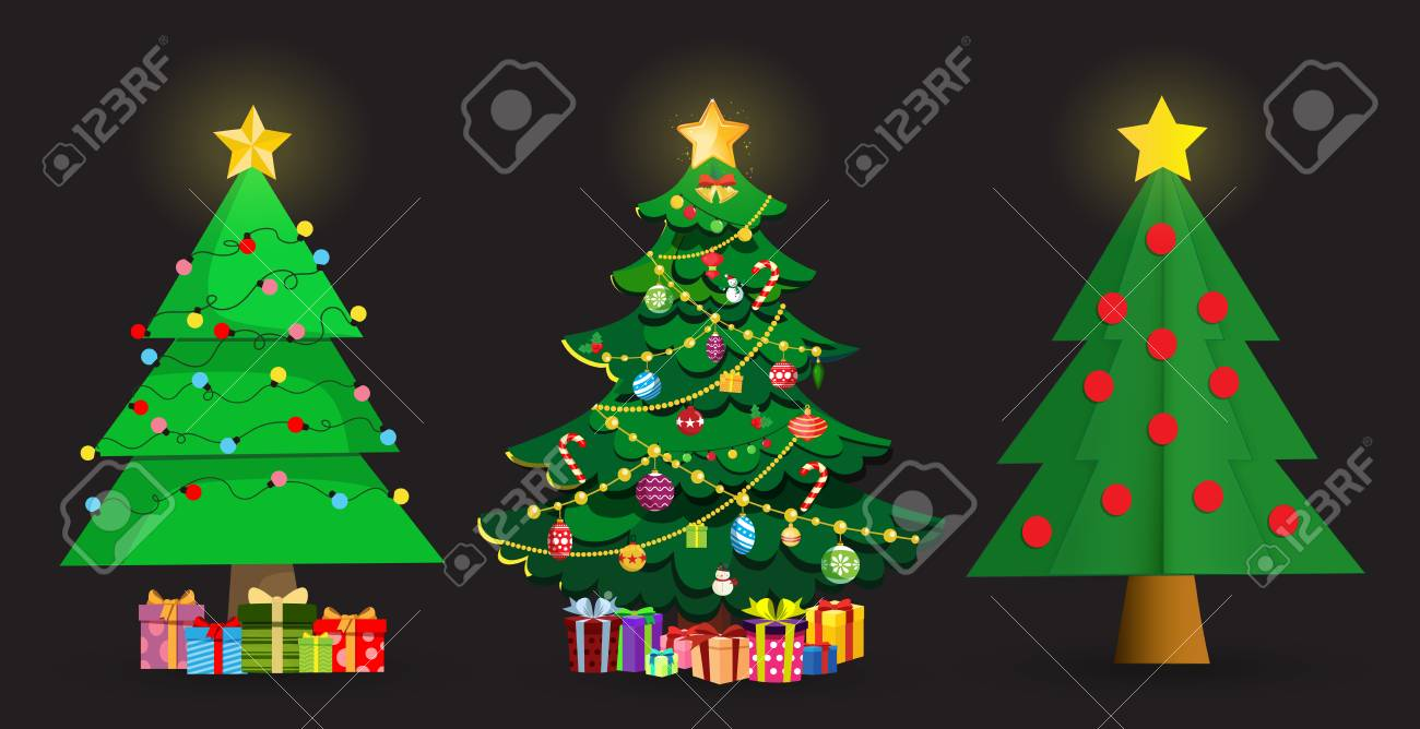 Set of cute cartoon Christmas fir trees. Star decorations, balls, garlands and lots of gift boxes Isolated on black background. Vector illustration, spruce clip art, elements for greeting card design - 117006874