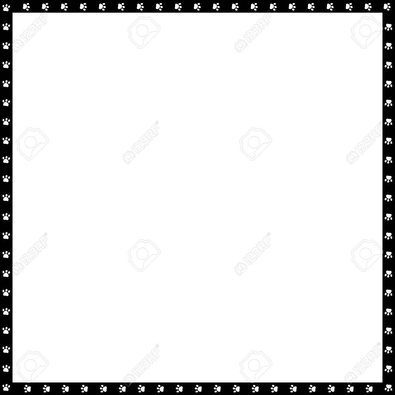 Vector black and white square border made of animal paw prints isolated on white background. Copy space template, border, framework, photo frame, poster, banner, cats or dogs paws walking track. - 117006950