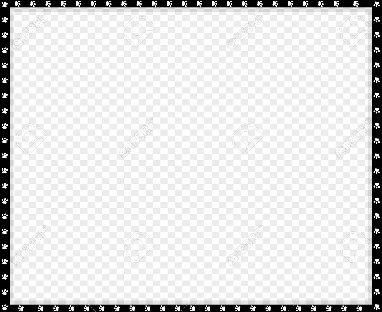 Vector Black And White Rectangle Border Made Of Animal Paw Prints Royalty Free Cliparts Vectors And Stock Illustration Image 114557942