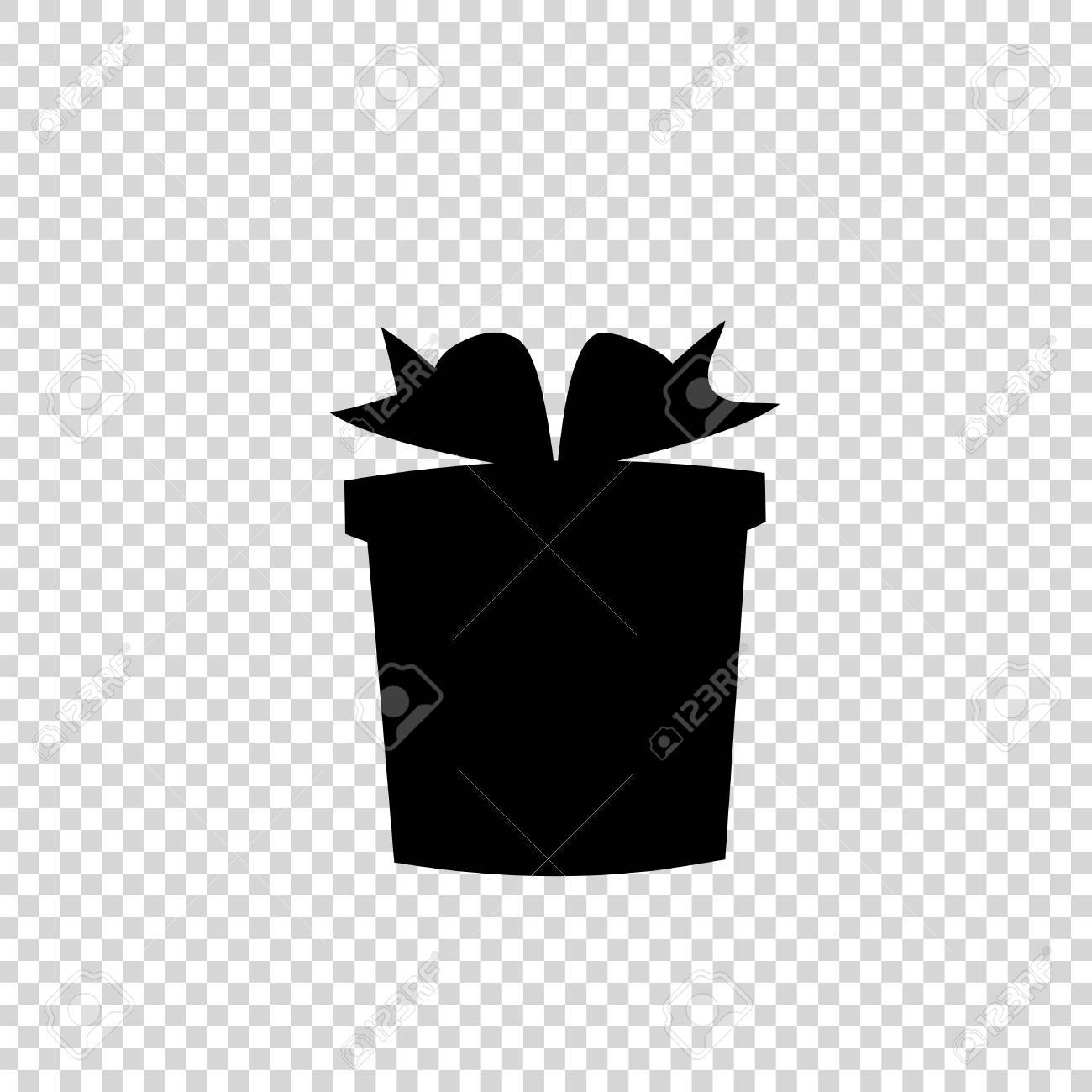 Vector Black Silhouette Of Bow Wrapped Gift Box On Transparent Royalty Free Cliparts Vectors And Stock Illustration Image 117006971