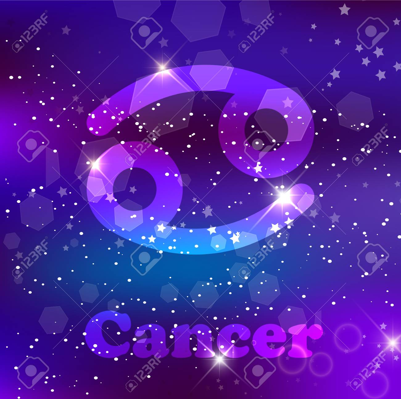 Cancer Zodiac Sign And Constellation On A Cosmic Purple Background Royalty Free Cliparts Vectors And Stock Illustration Image 114558274