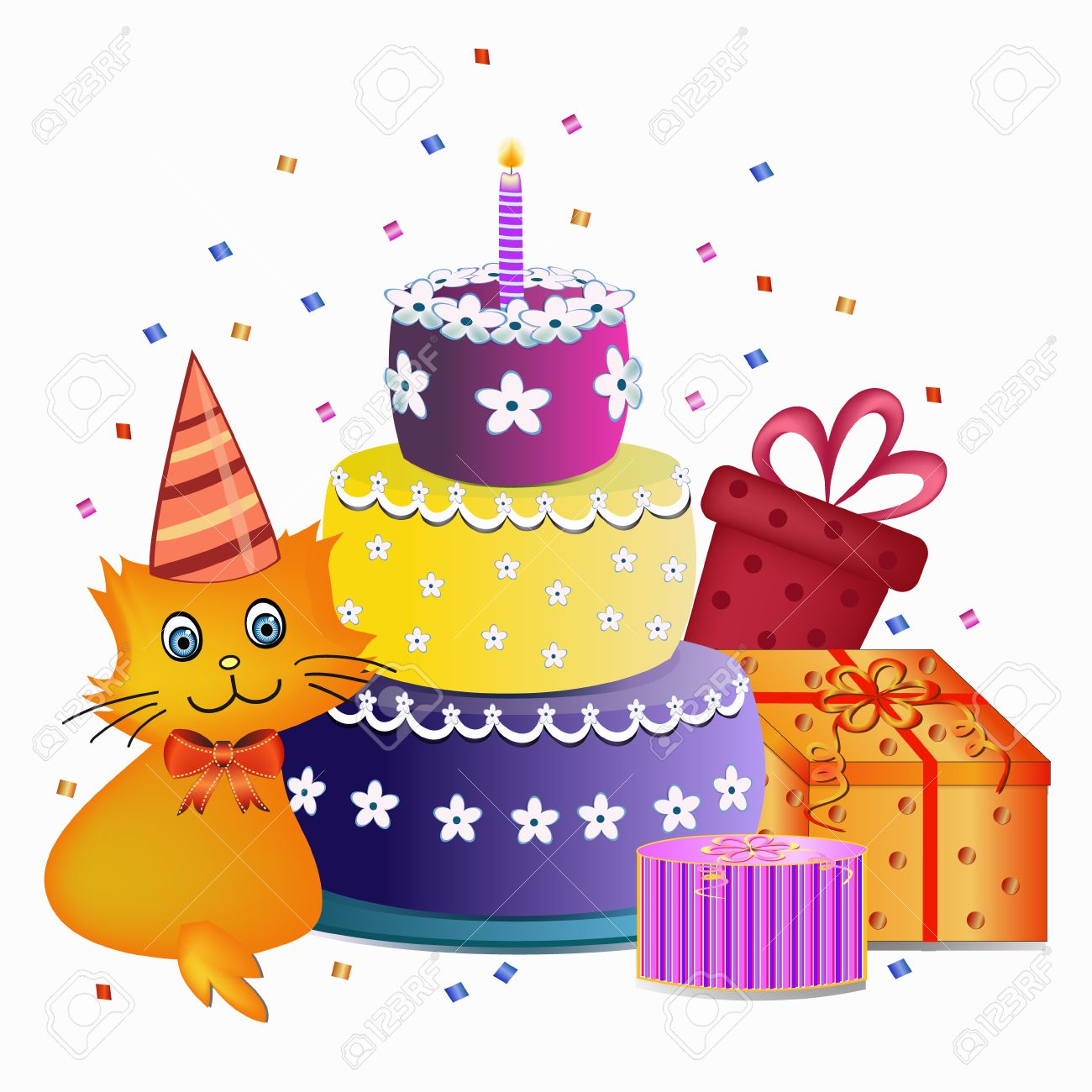 colorful happy birthday cake cat and present illustration royalty