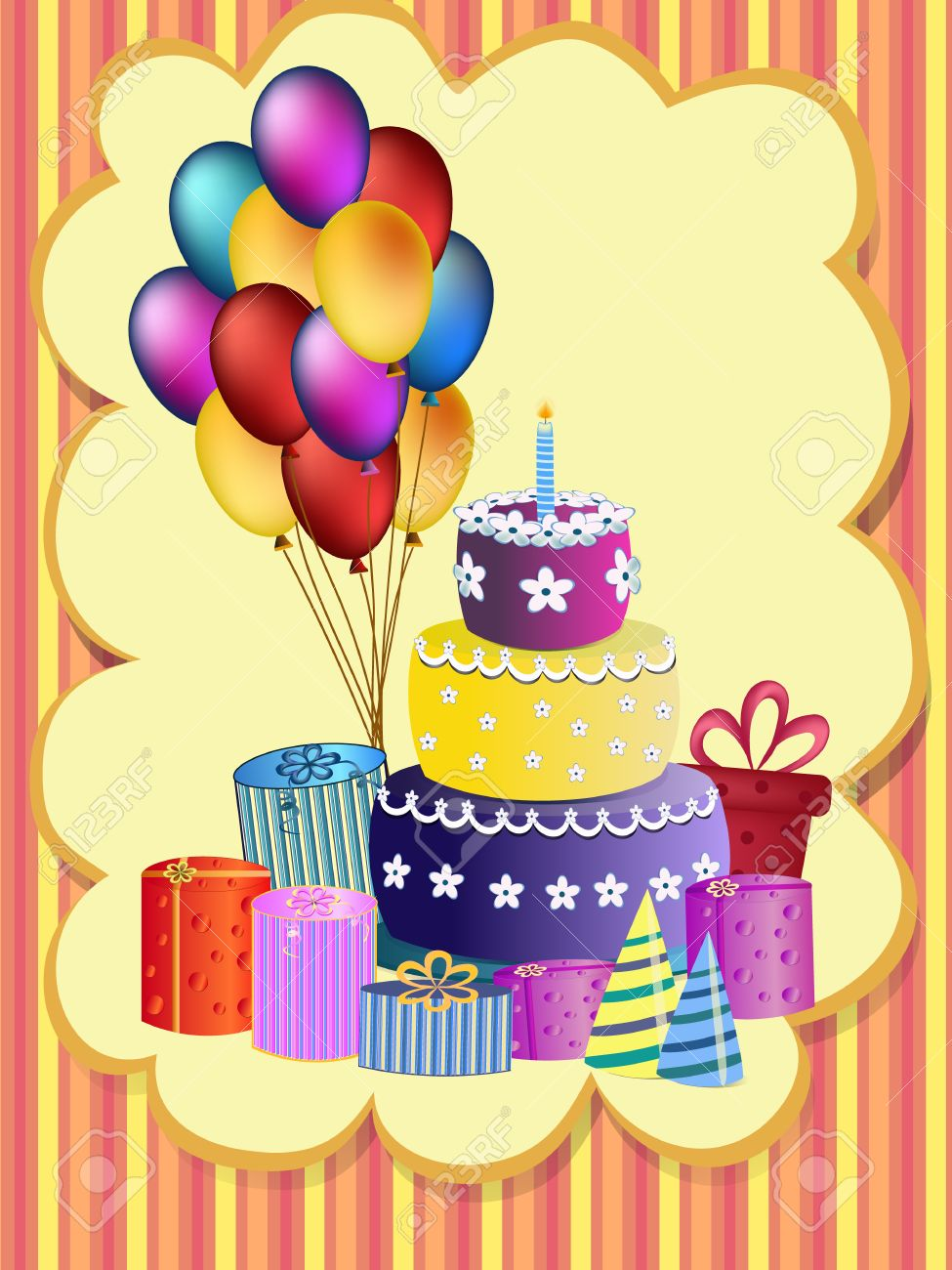 Happy Birthday Cake Balloon And Present Illustration Stock Vector
