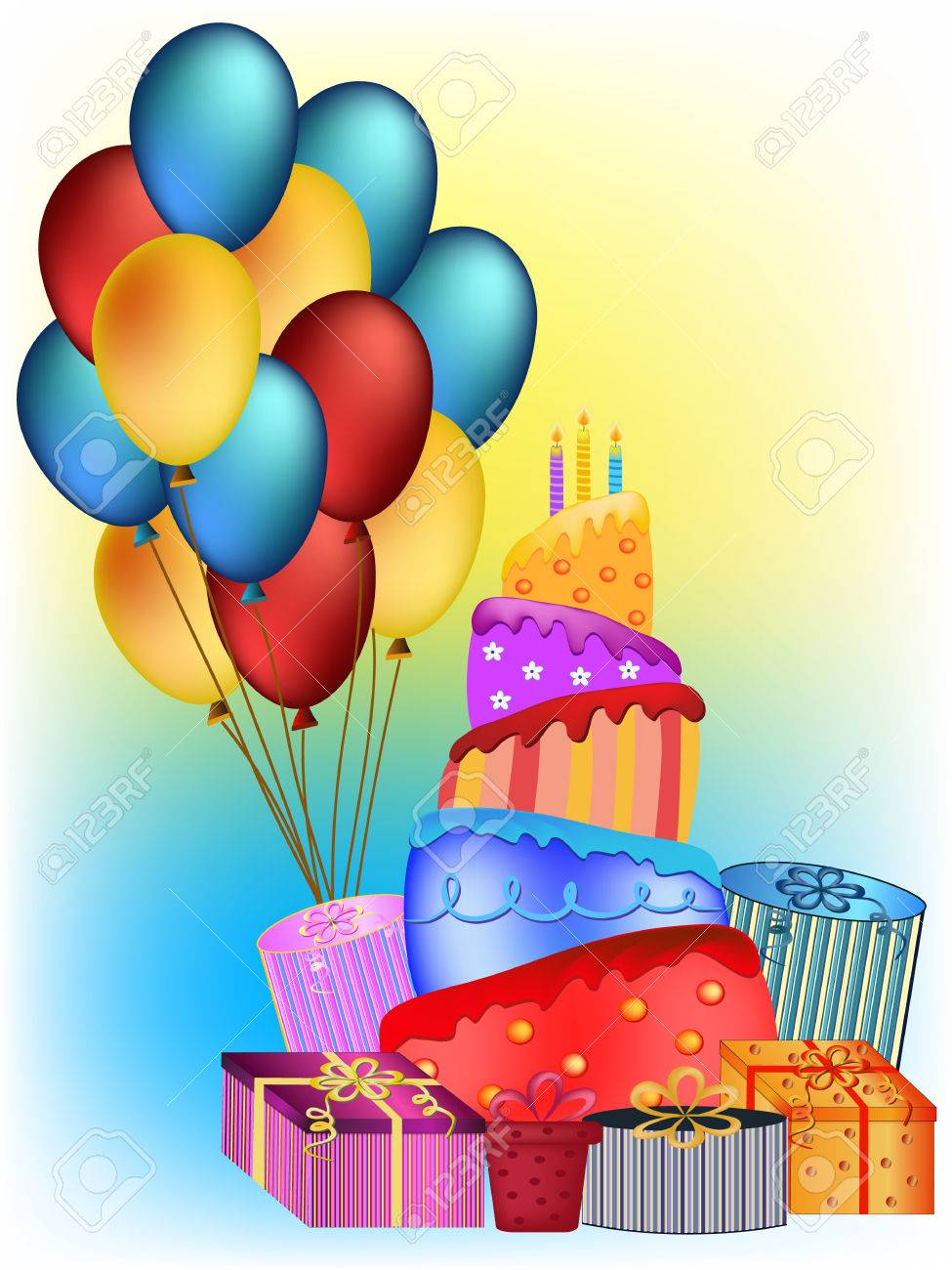 Colorful Happy Birthday Cake Balloon And Present Illustration Stock Vector