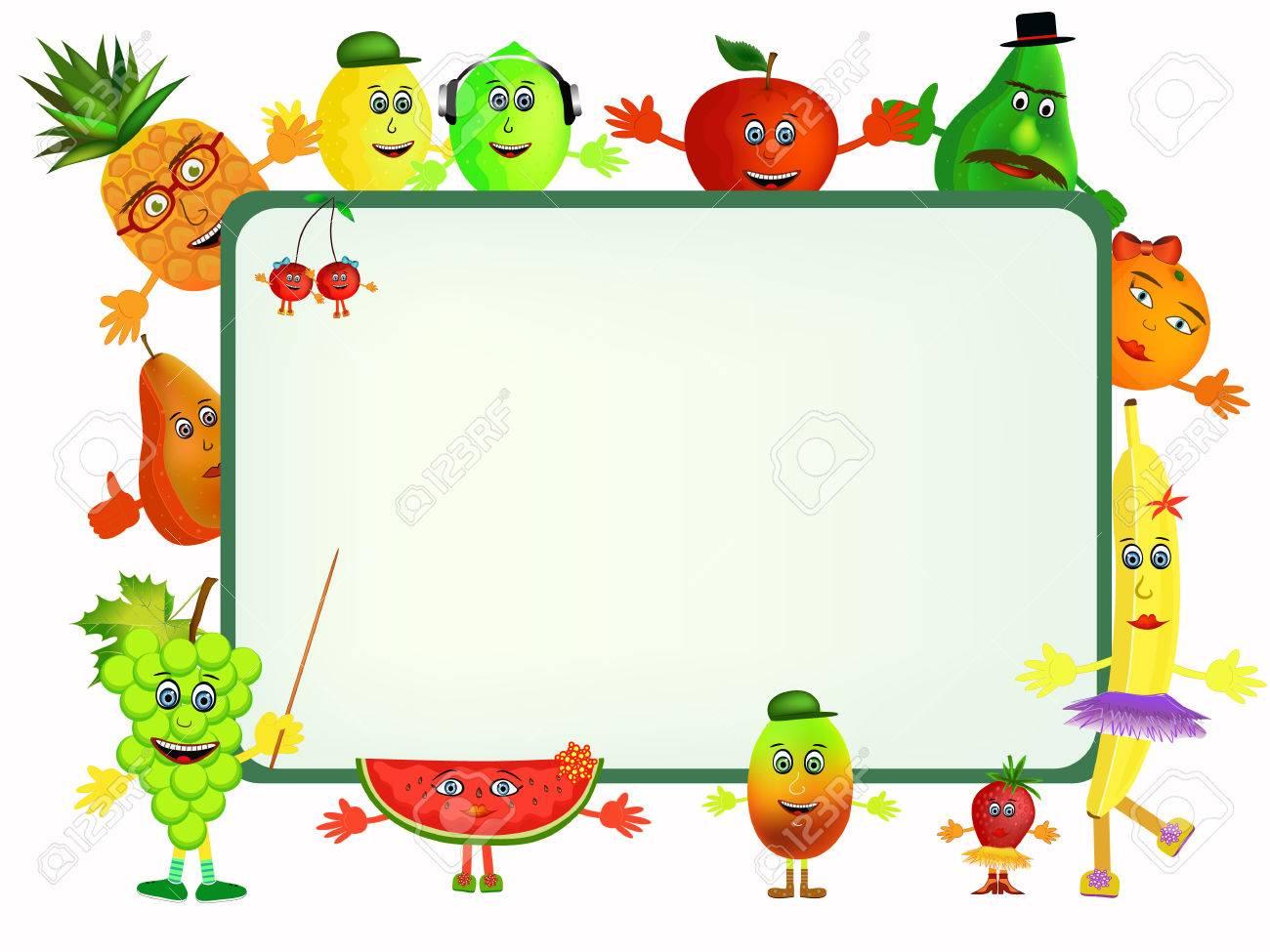 Coloridos Iconos De Dibujos Animados De Frutas Saludables Con