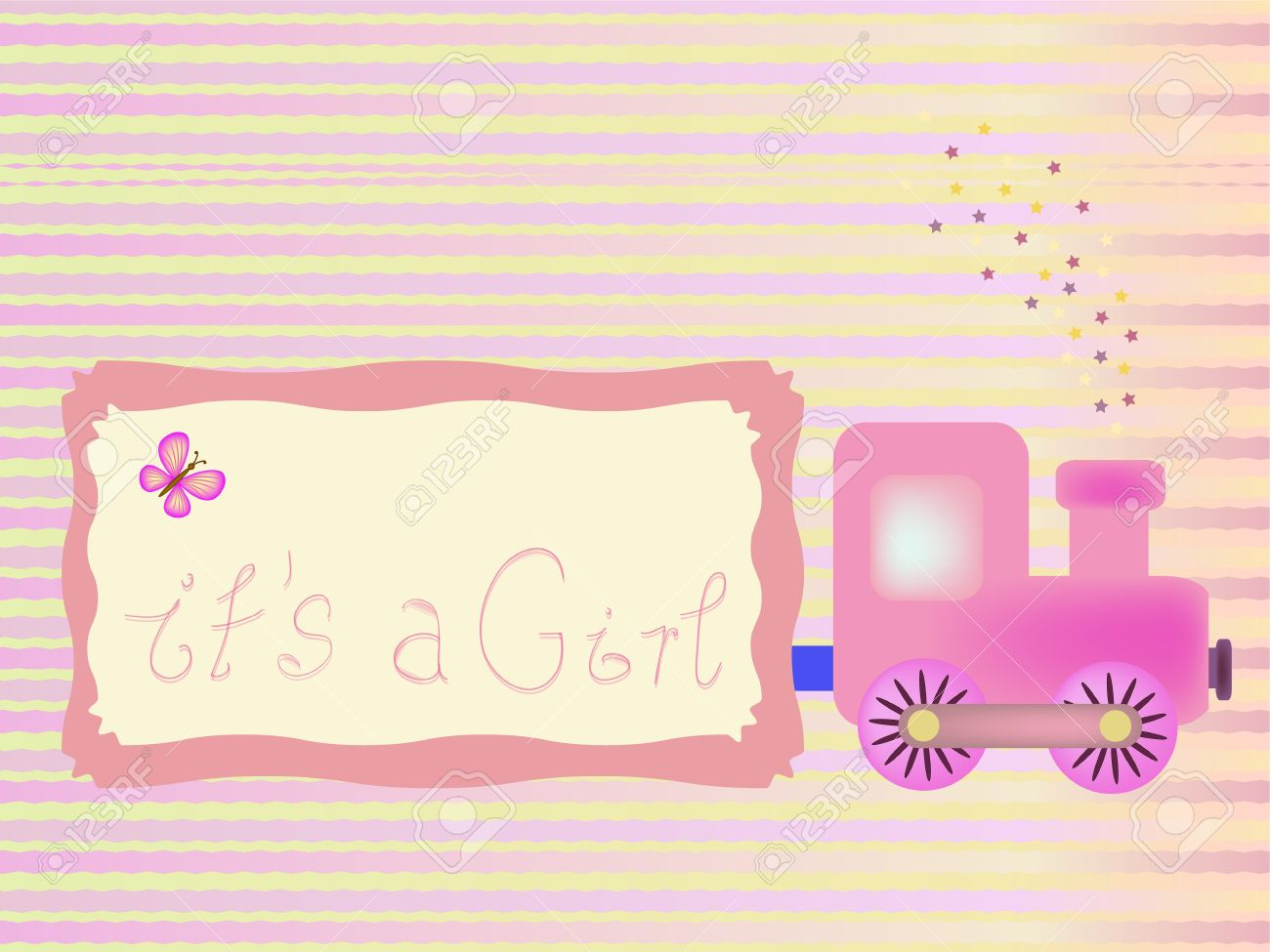 Baby Shower Background With Its A Girl Title Royalty Free Cliparts
