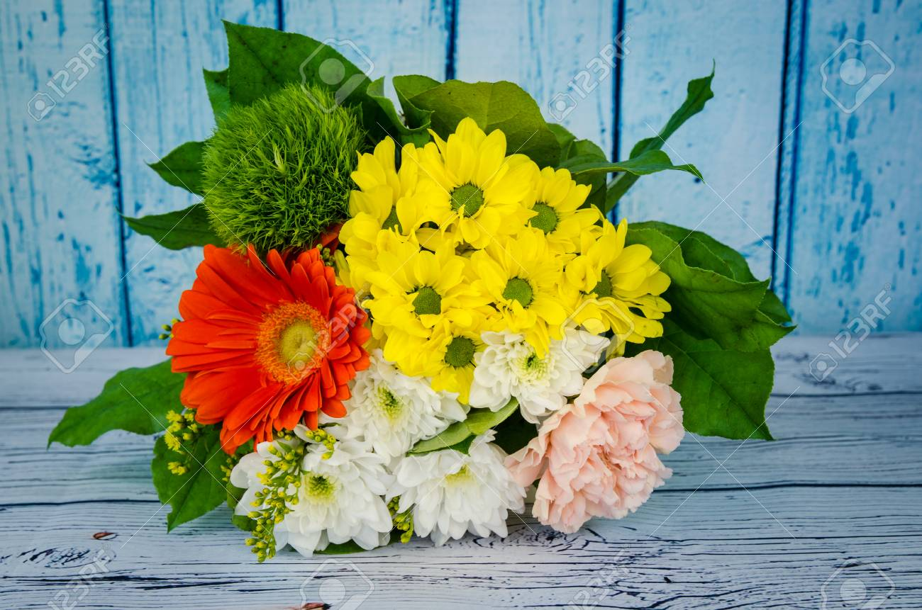 Colorful Bunch Of White Pink And Yellow Chrysanthemum Flowers Stock
