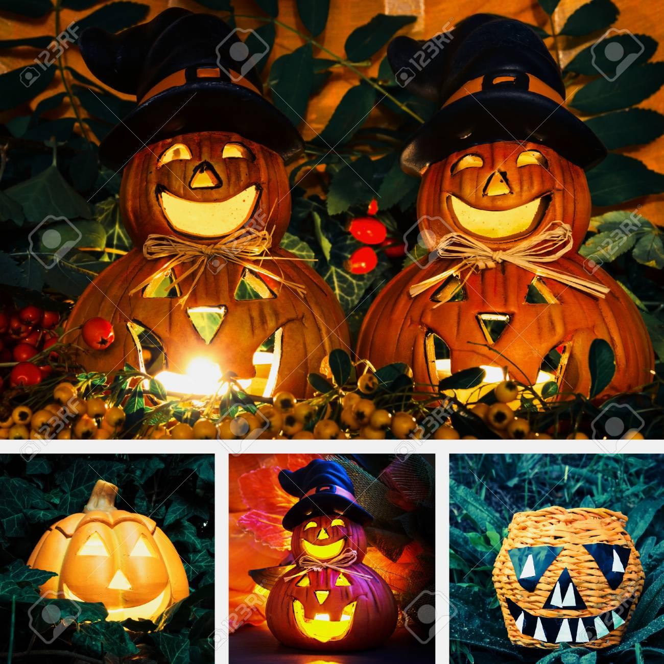 Calabaza De Color Amarillo Decoración De Halloween Del Collage