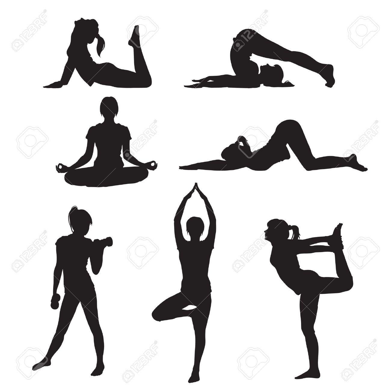 Vector illustration of a girl yoga silhouette - 12496161