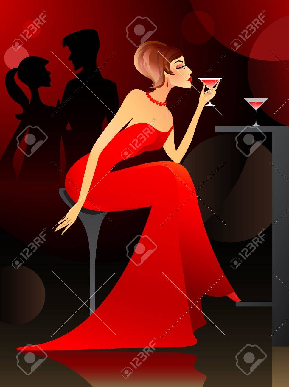 Young woman having cocktail at the bar Stock Vector - 12841001