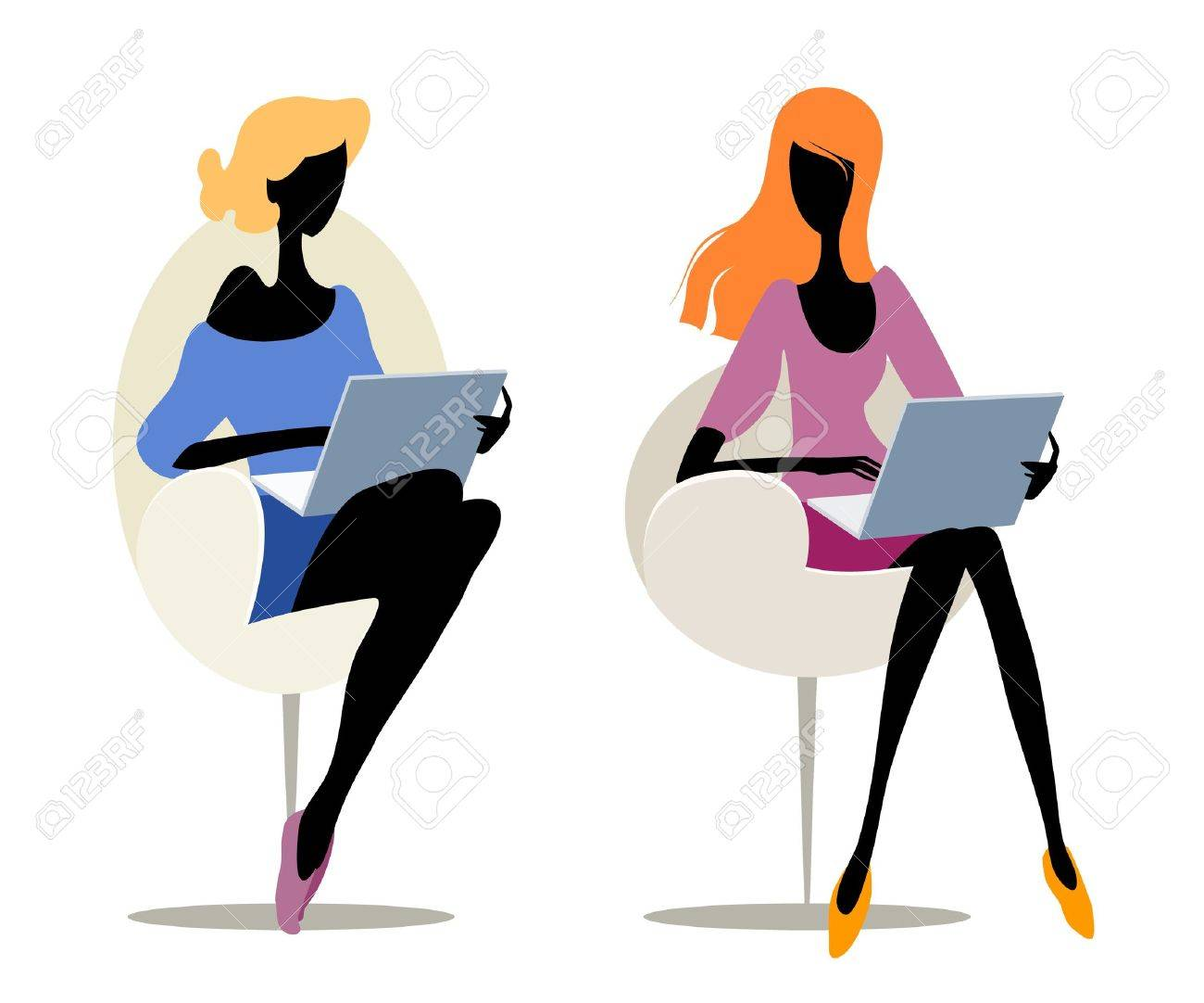 Pair silhouettes of a girls with laptops Stock Vector - 12991716