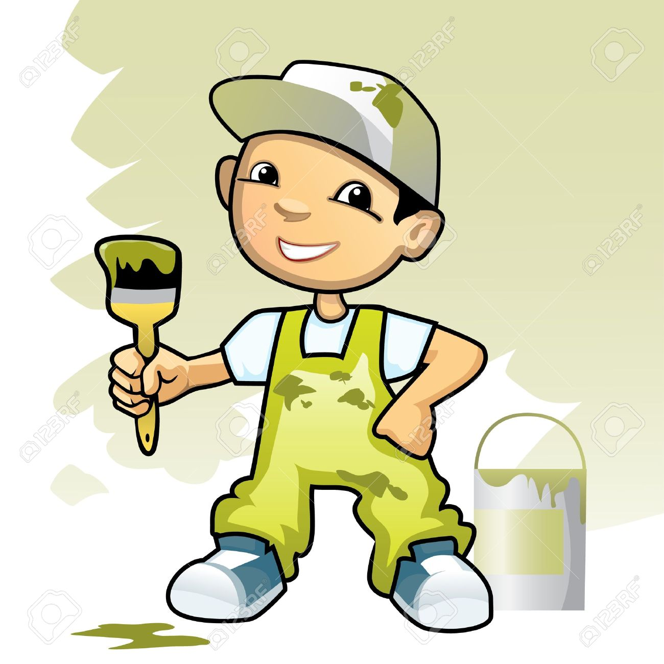 vector vector illustration of a decorator with brush - Decorator