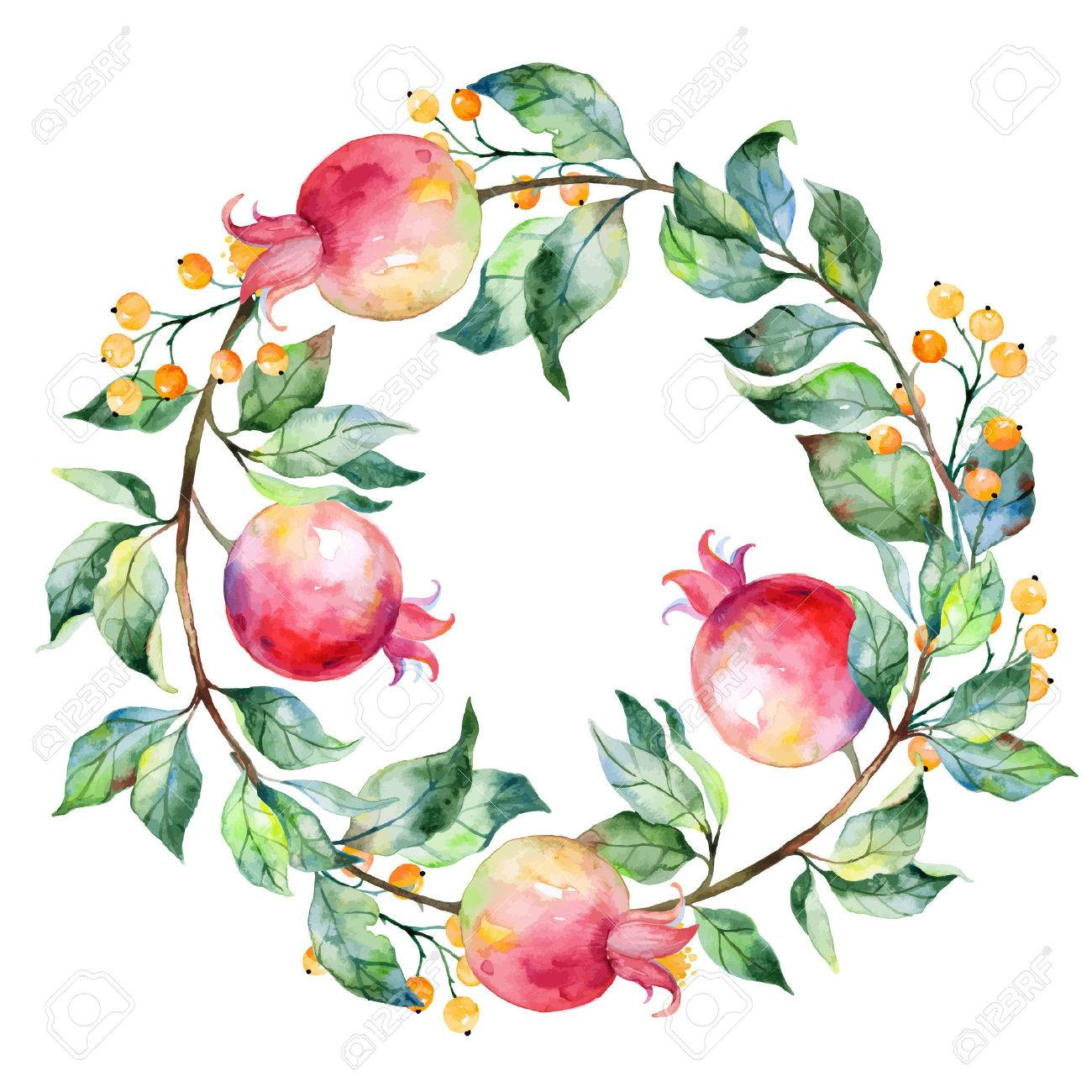 vector round frame of watercolor pomegranate and berries watercolor