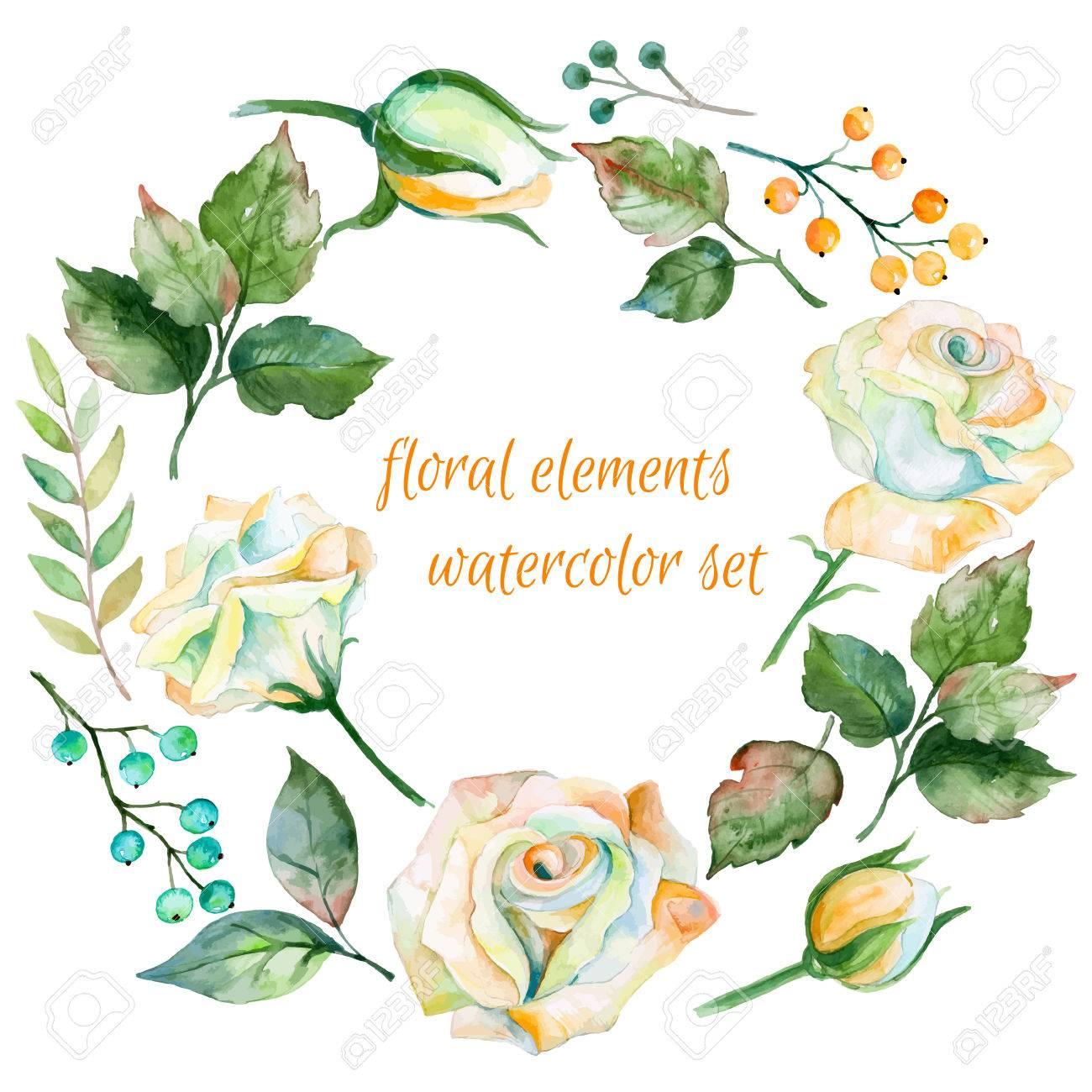 Set of different white flowers berries and leaves for design set of different white flowers berries and leaves for design watercolor roses and leaves mightylinksfo