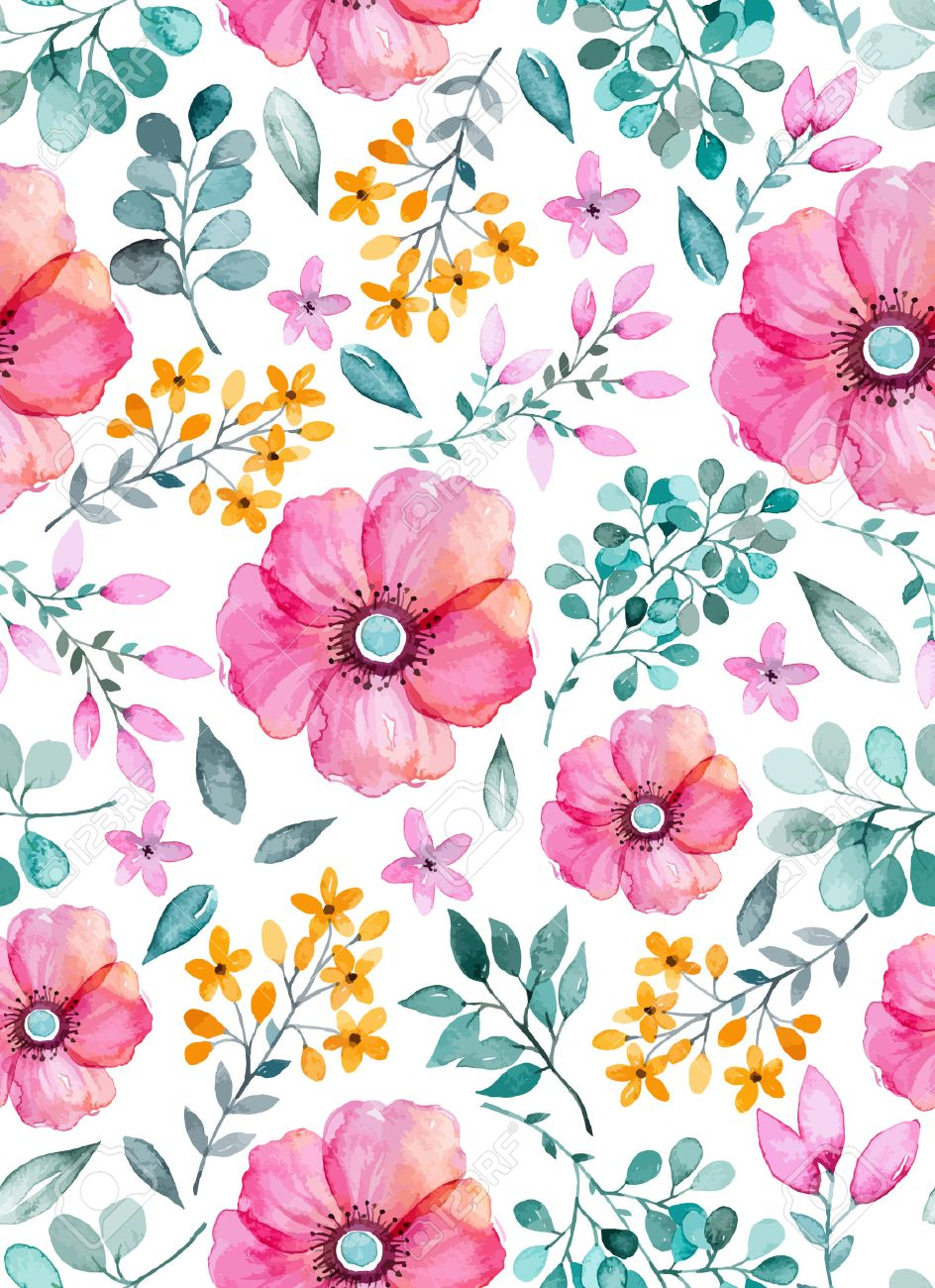 Watercolor Floral Seamless Pattern With Flowers And Leafs